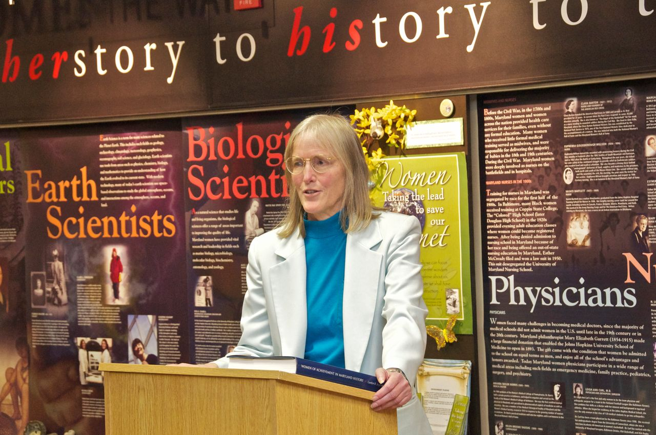 NASA's Dr. Claire Parkinson speaking at the Maryland Women's Heritage Center.