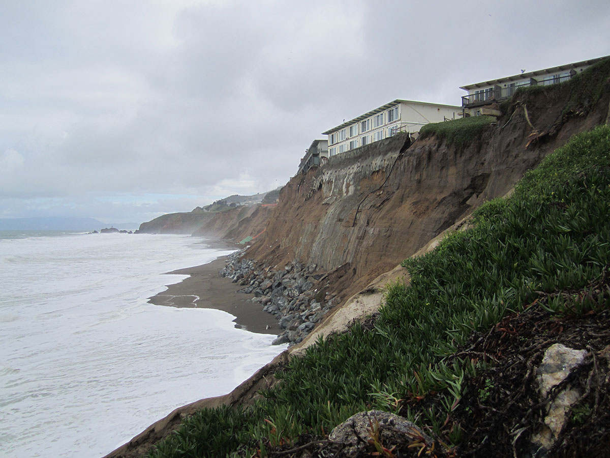 Cliff erosion is a common storm-induced hazard along the U.S. West Coast.