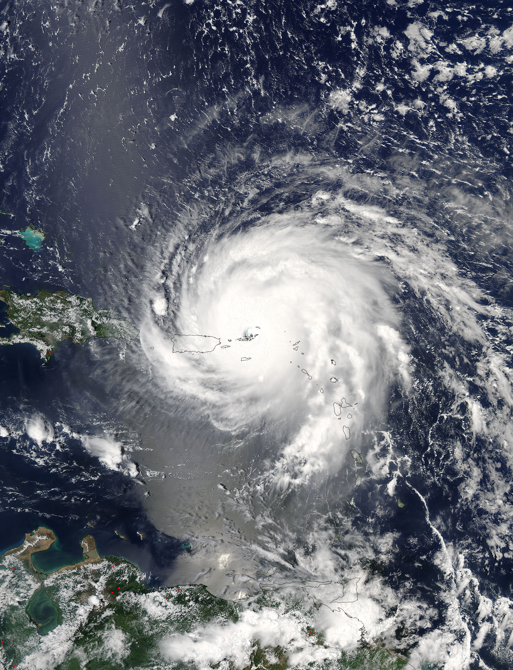 On Sept. 6 at 1:45 p.m. EDT (1745 UTC) the Moderate Resolution Imaging Spectroradiometer or MODIS instrument aboard NASA's Aqua satellite captured a visible-light image of Hurricane Irma over the Leeward Islands and Puerto Rico. Credits: NASA Goddard MODIS Rapid Response Team