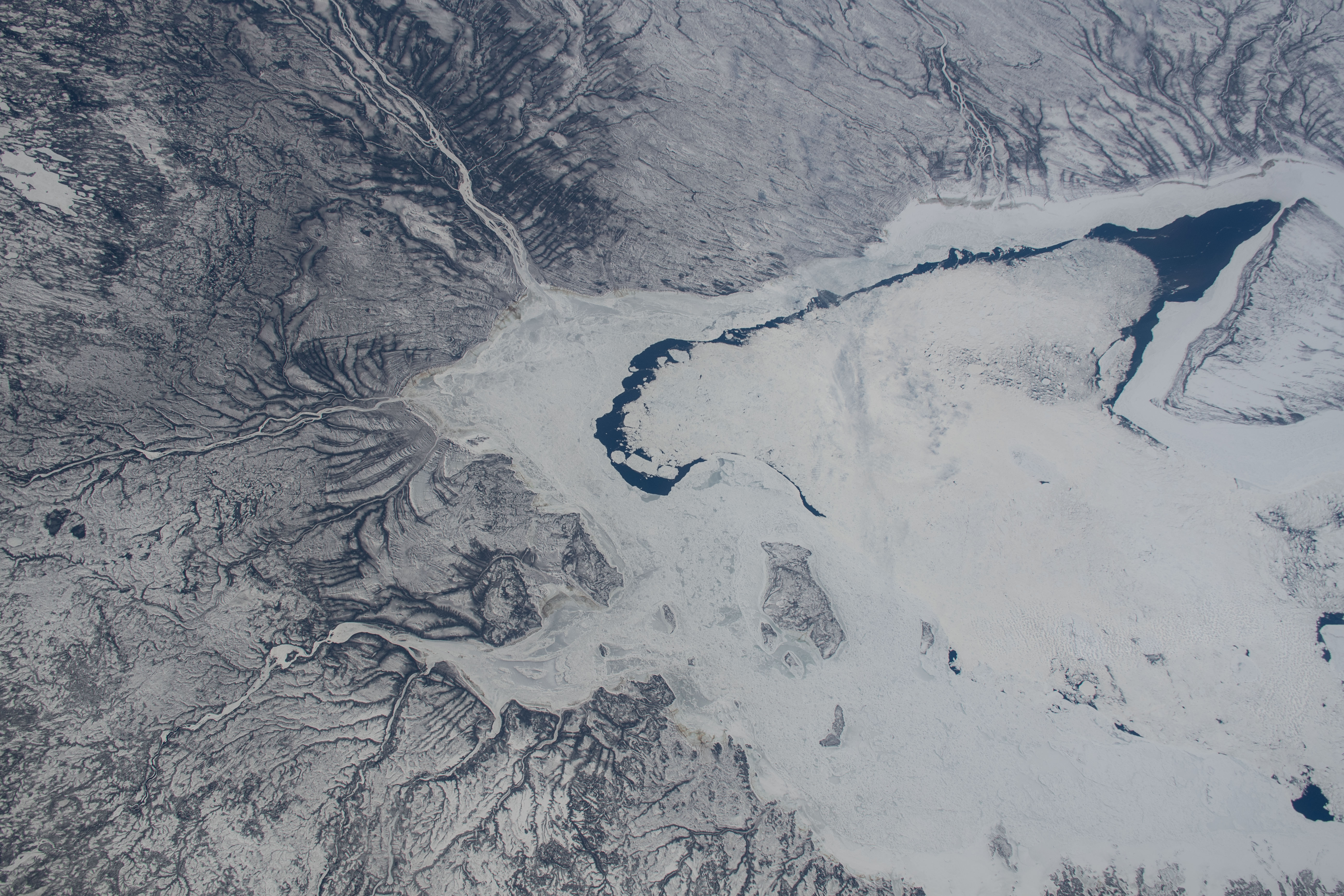 Station Crew Views the Frozen Southern Tip of Hudson Bay