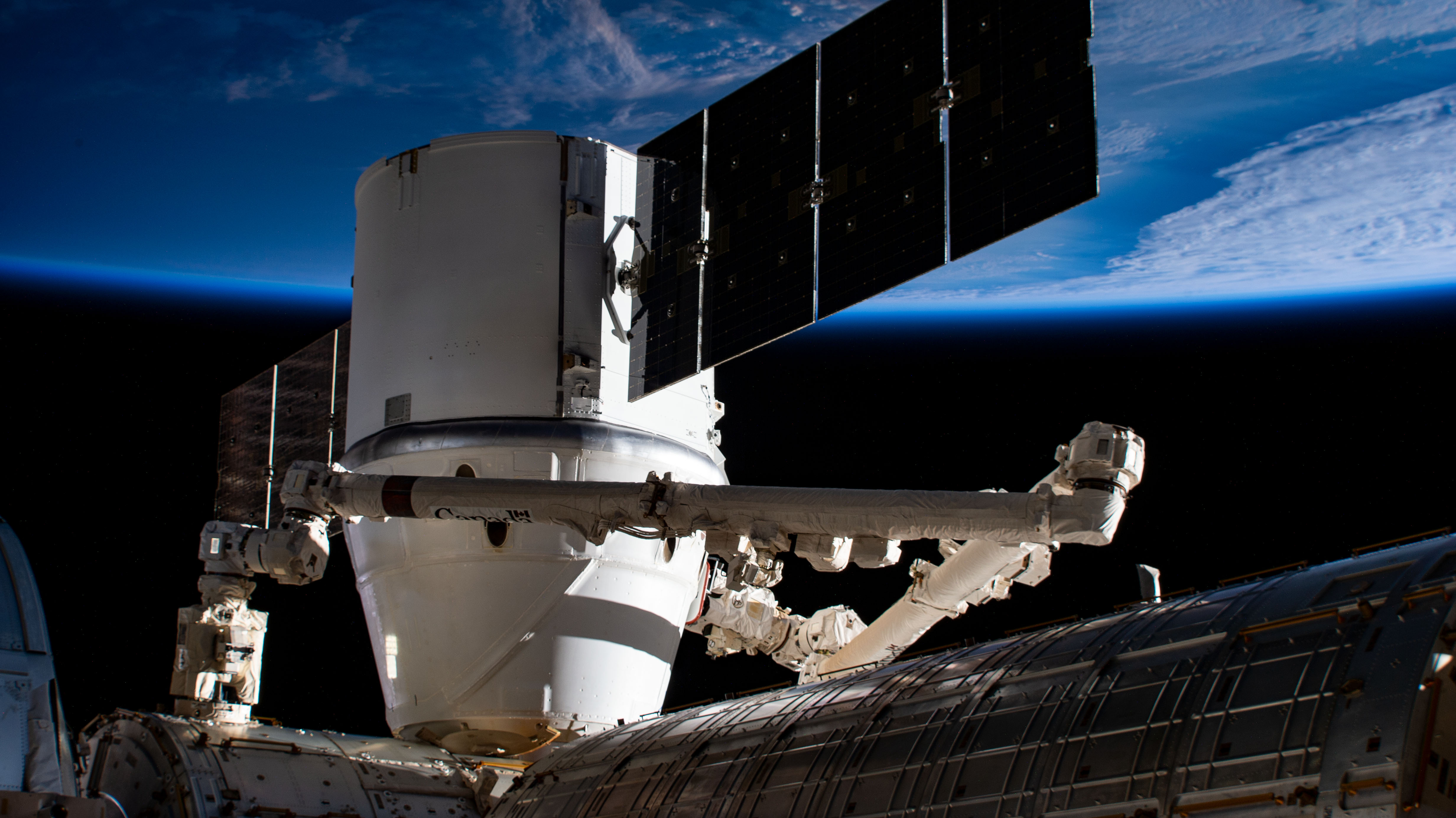 The SpaceX Dragon resupply ship berthed to the Harmony