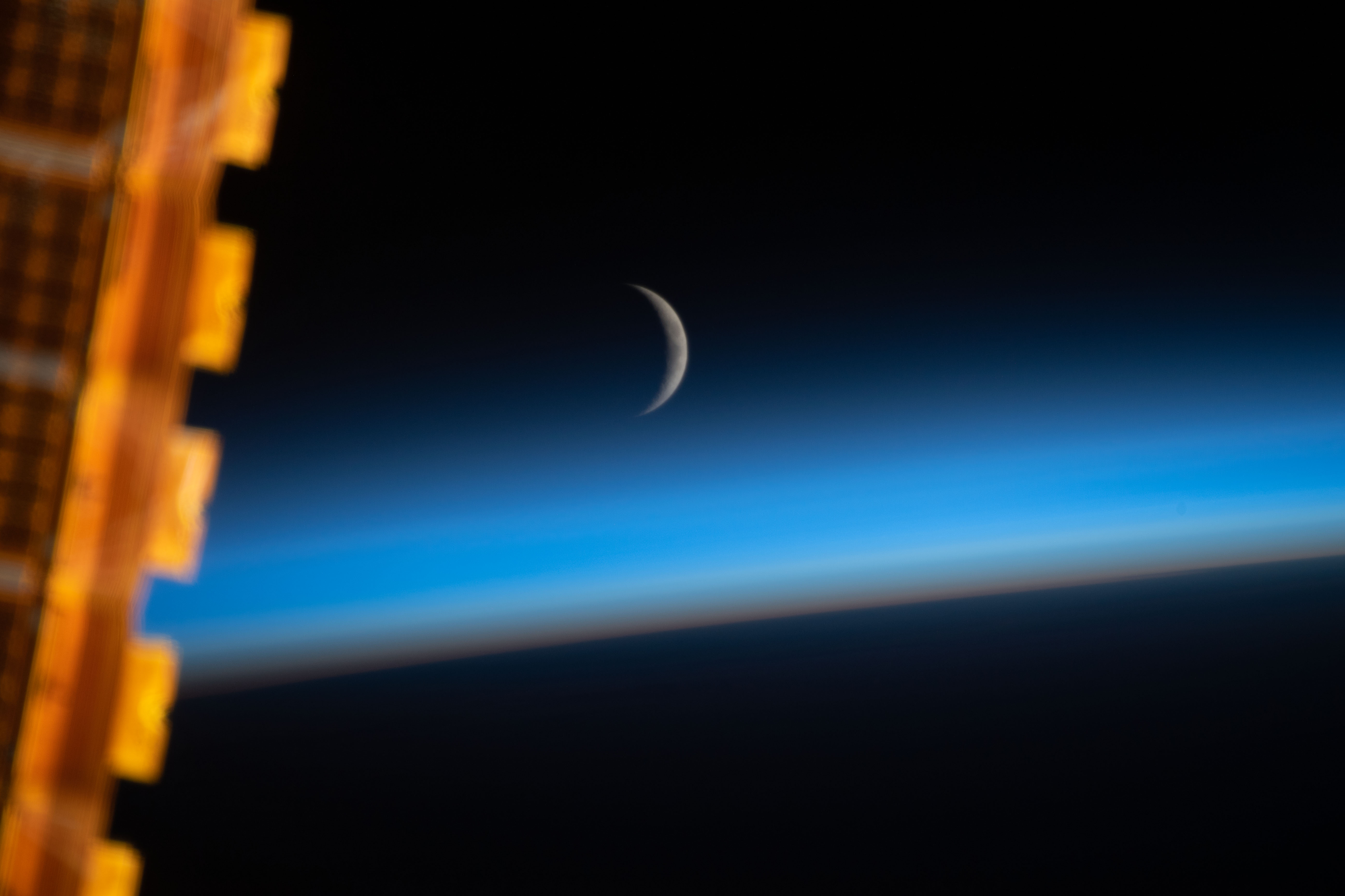Waxing Crescent Moon Above Earths Limb
