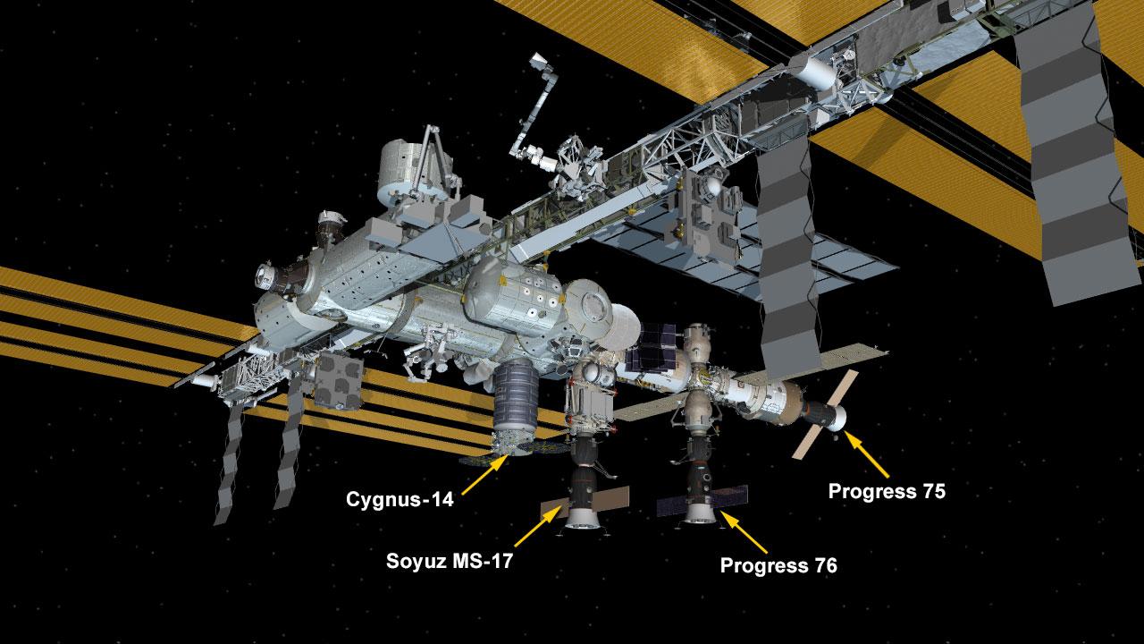 текущая конфигурация МКС,  Progress 75 - это Прогресс МС 16, отверстие в отсеке через который он пристыкован