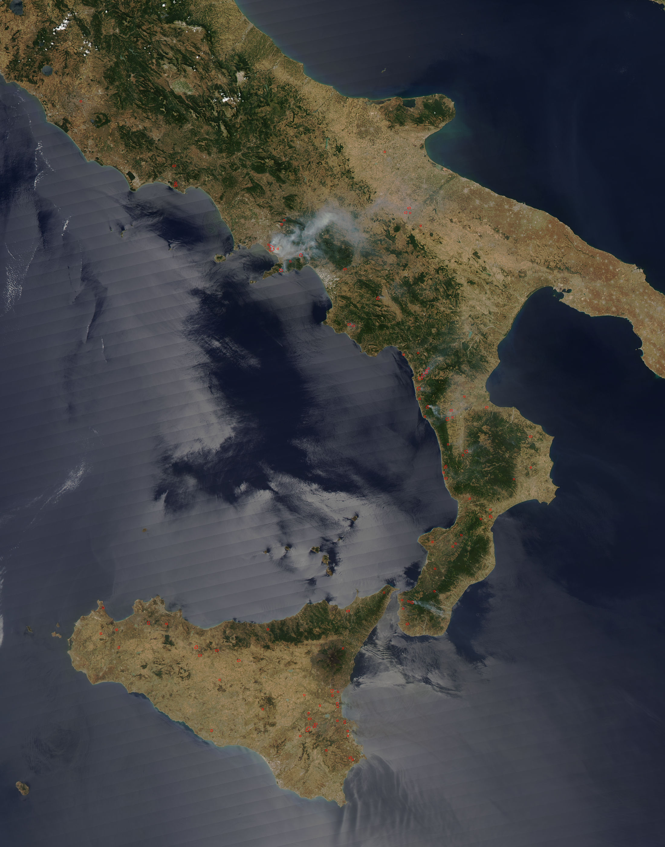 Fires In Southern Italy Sicily Nasa