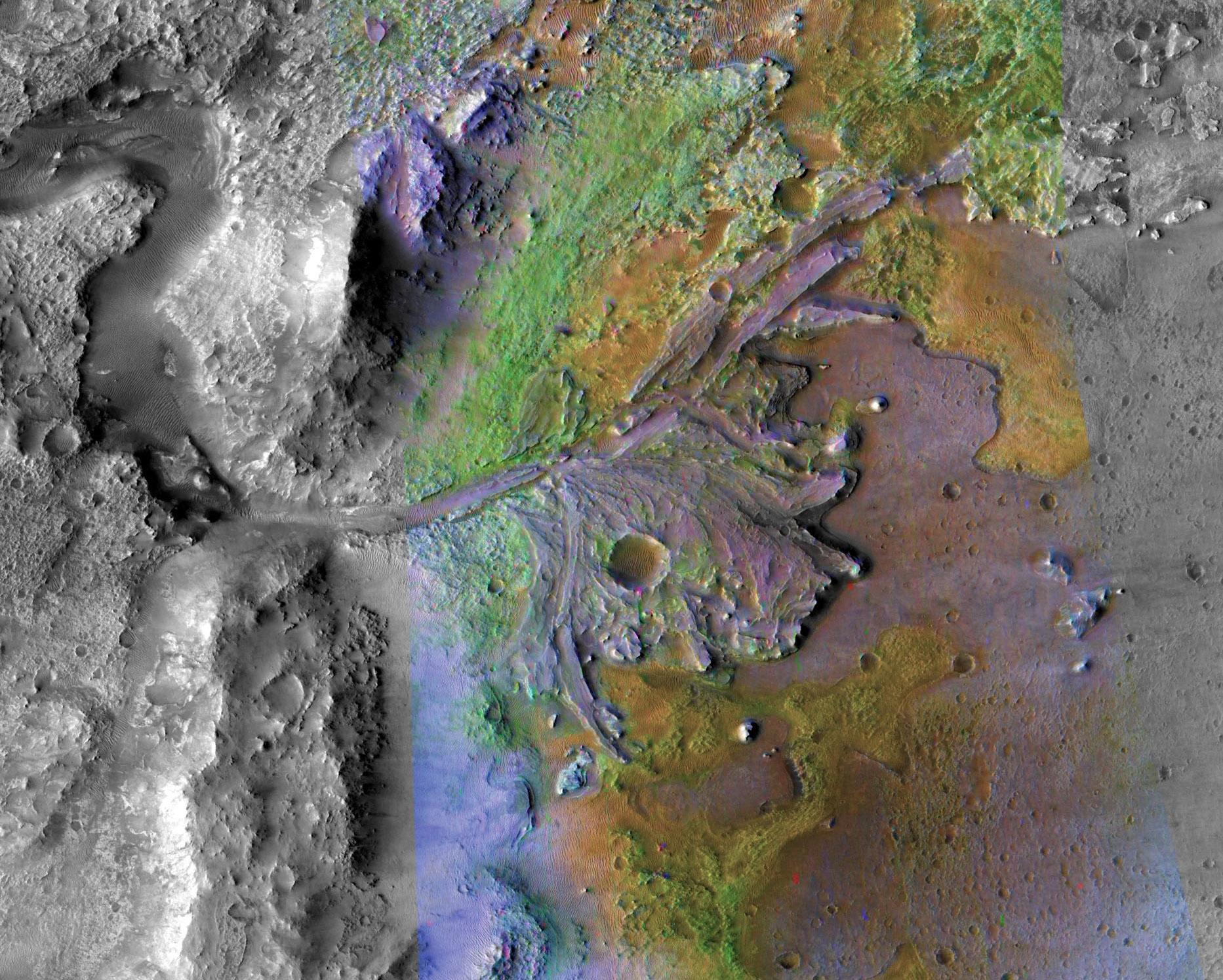 Mars, kráter Jezero, delta