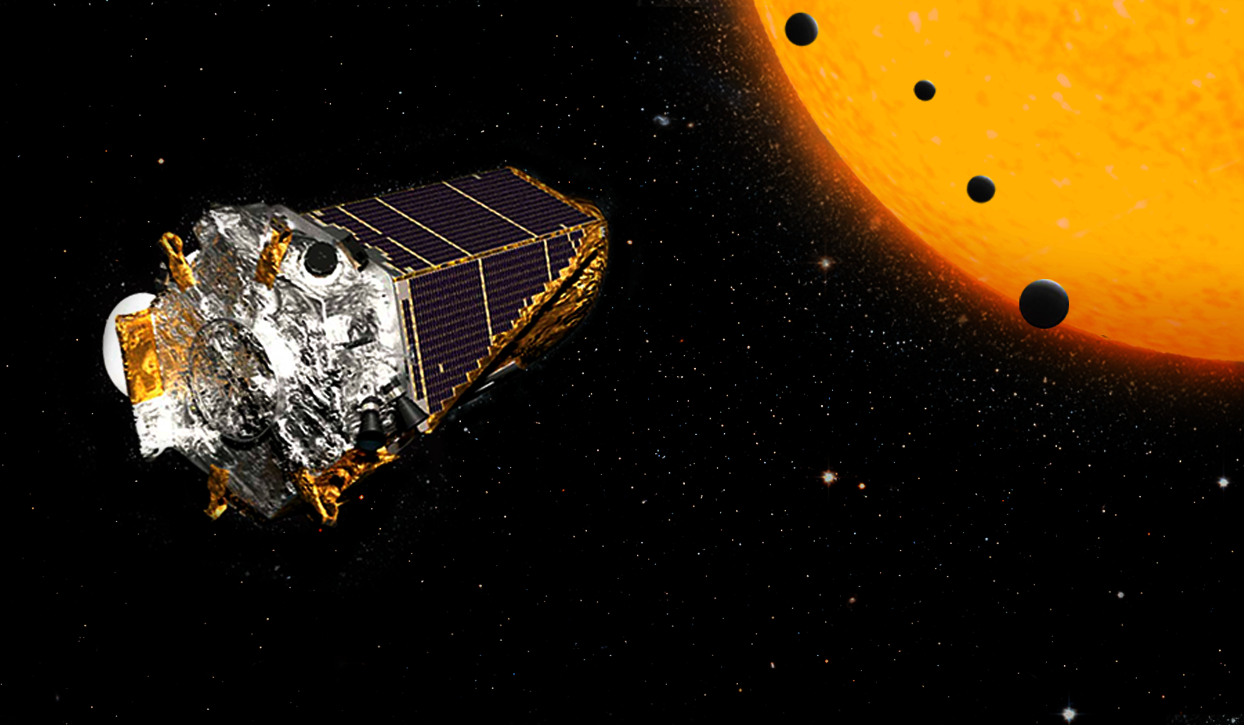 Artist concept of four planets with their star and the Kepler spacecraft.