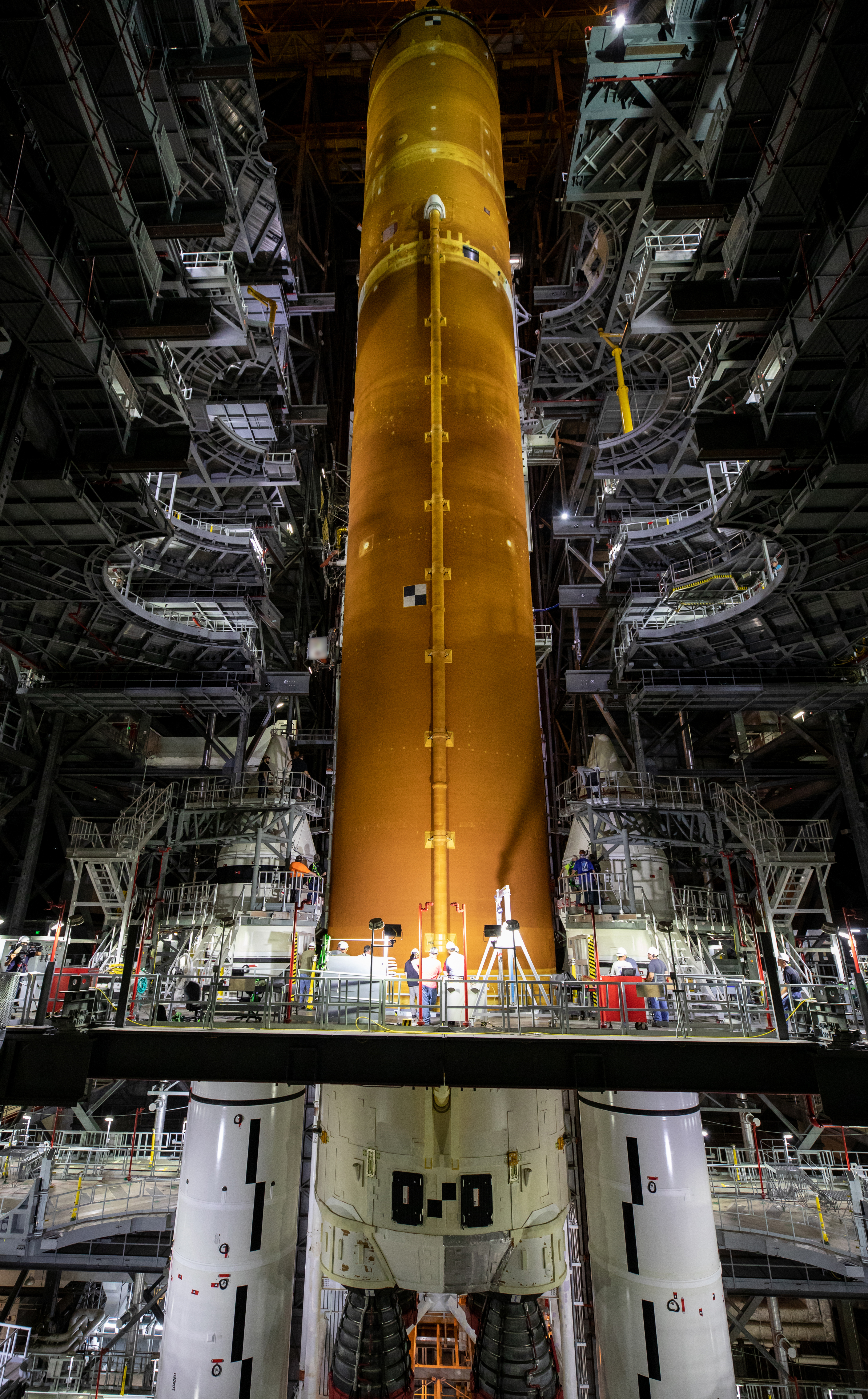 Artemis I Space Launch System Core Stage Lift and Mate