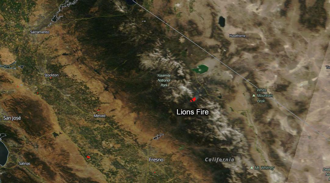 lightning caused lions fire burning in ansel adams wilderness nasa