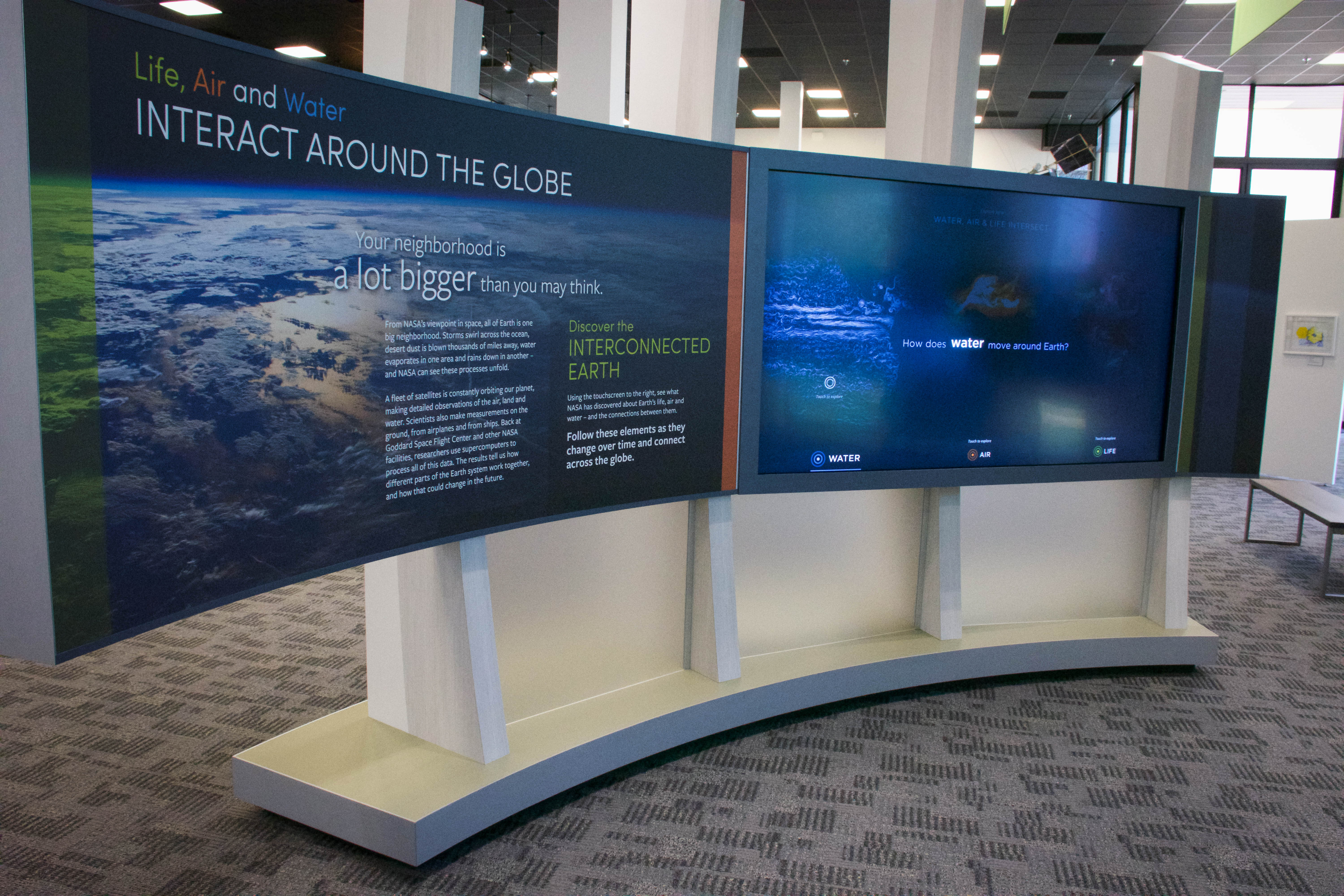 Nasa federal credit union security center - A Curved Wall Panel With Text And Images