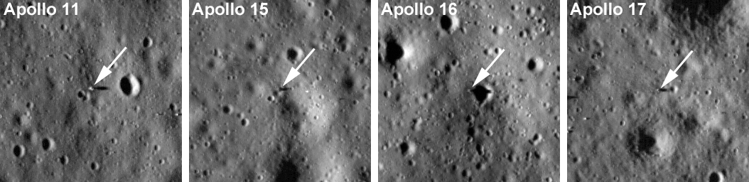 Apollo 11 (UL; 282 meters wide), Apollo 15 (UR; 384 meters wide), Apollo 16 (ML; 256 meters wide), Apollo 17 (MR; 359 meters wide) [NASA/GSFC/Arizona State University].