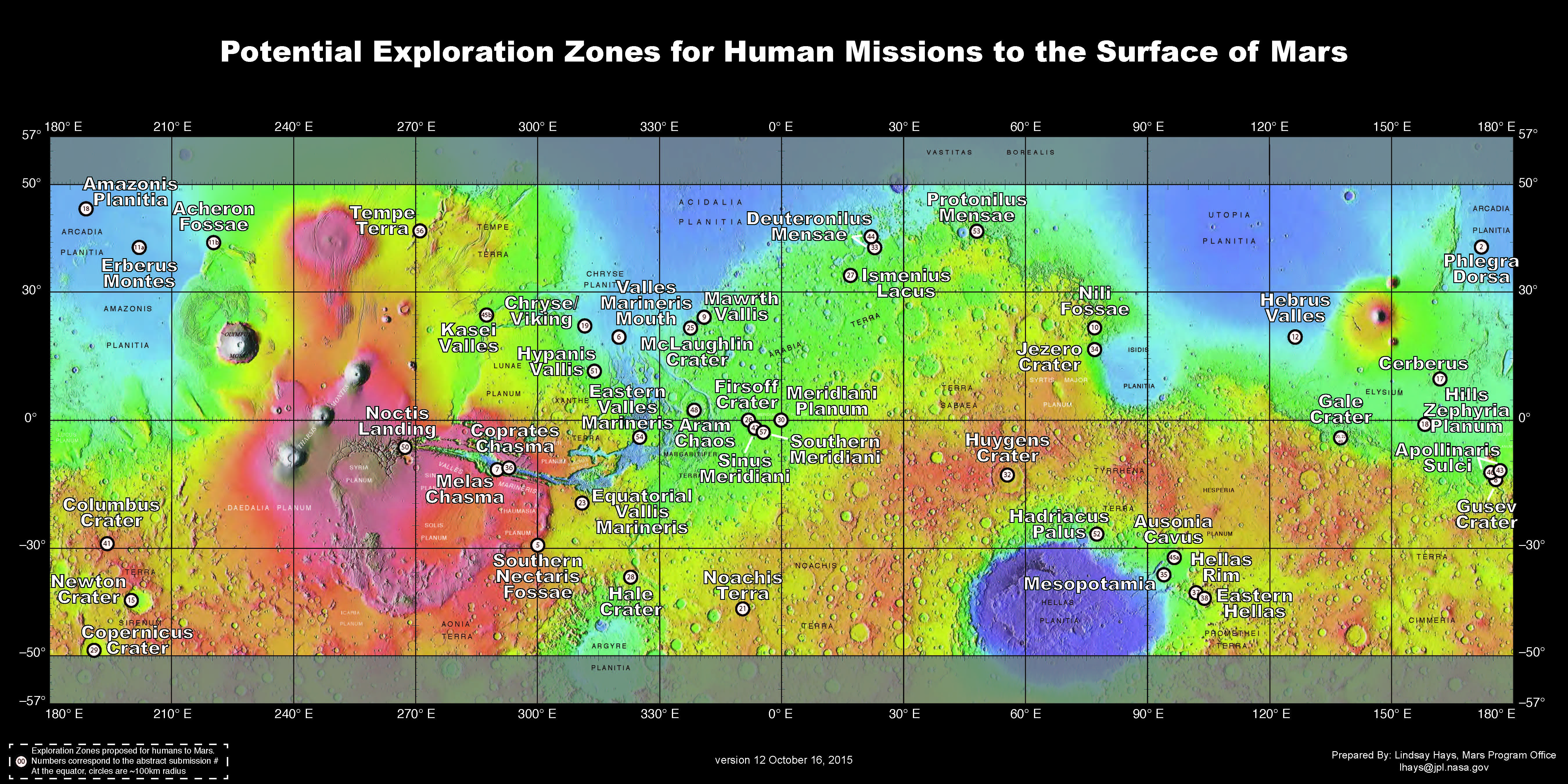 Nasa seeks ideas for where on mars the next giant leap will take map of proposed exploration zones gumiabroncs Gallery