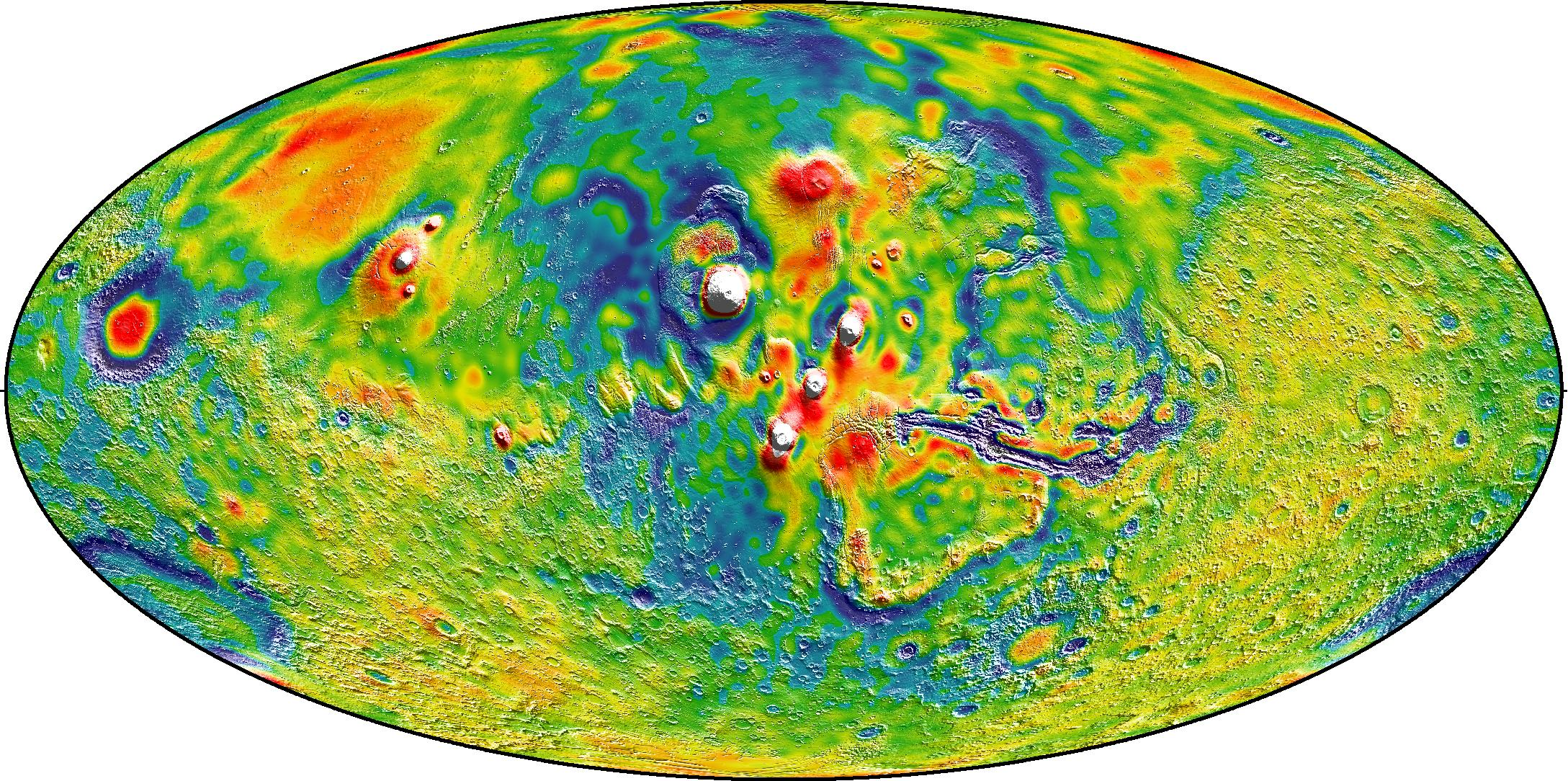 New mars gravity map gravity map of tharsis volcanoes gumiabroncs Images