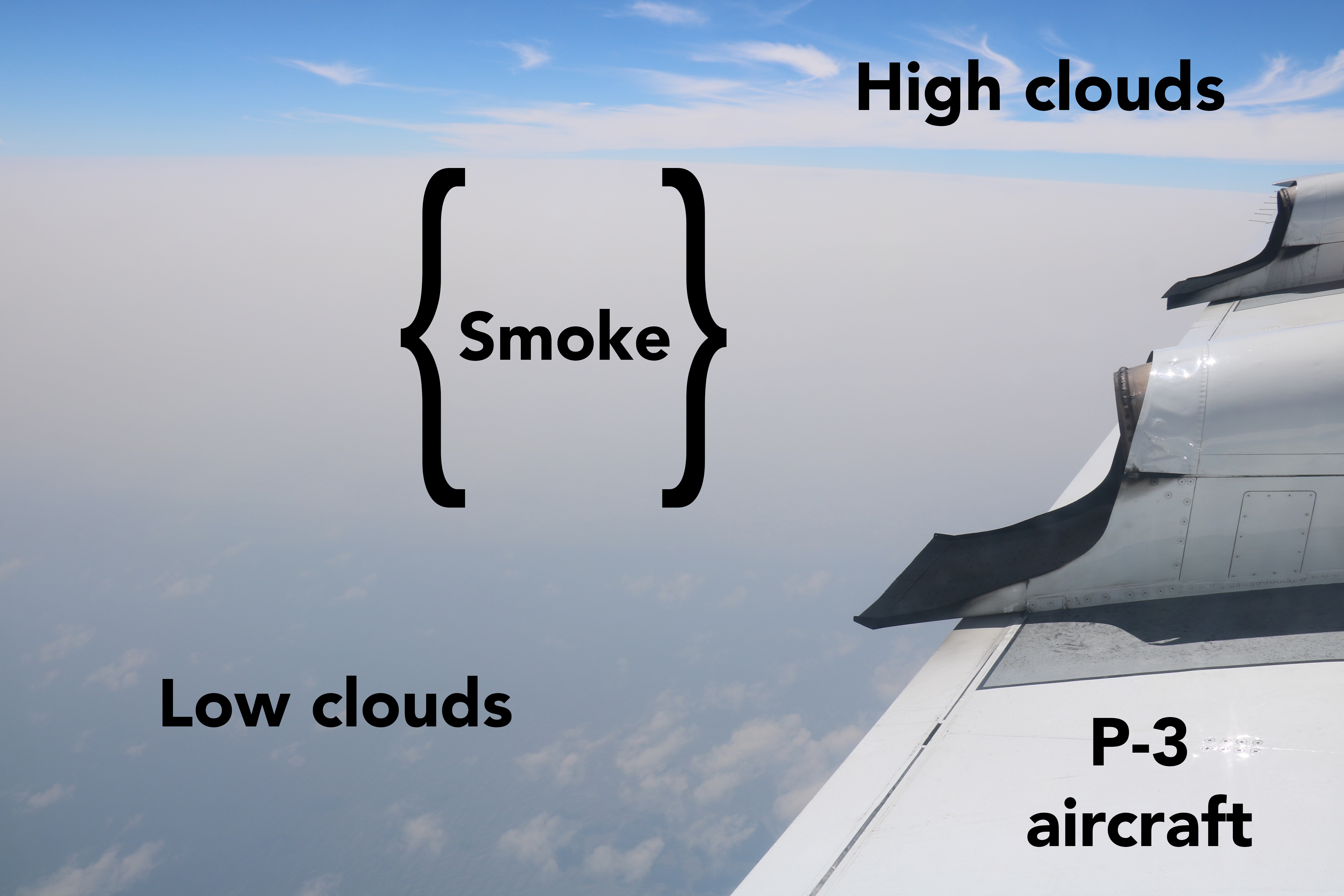 A thick haze of milky-gray smoke overlies a blue ocean surface dotted with puffy white low clouds