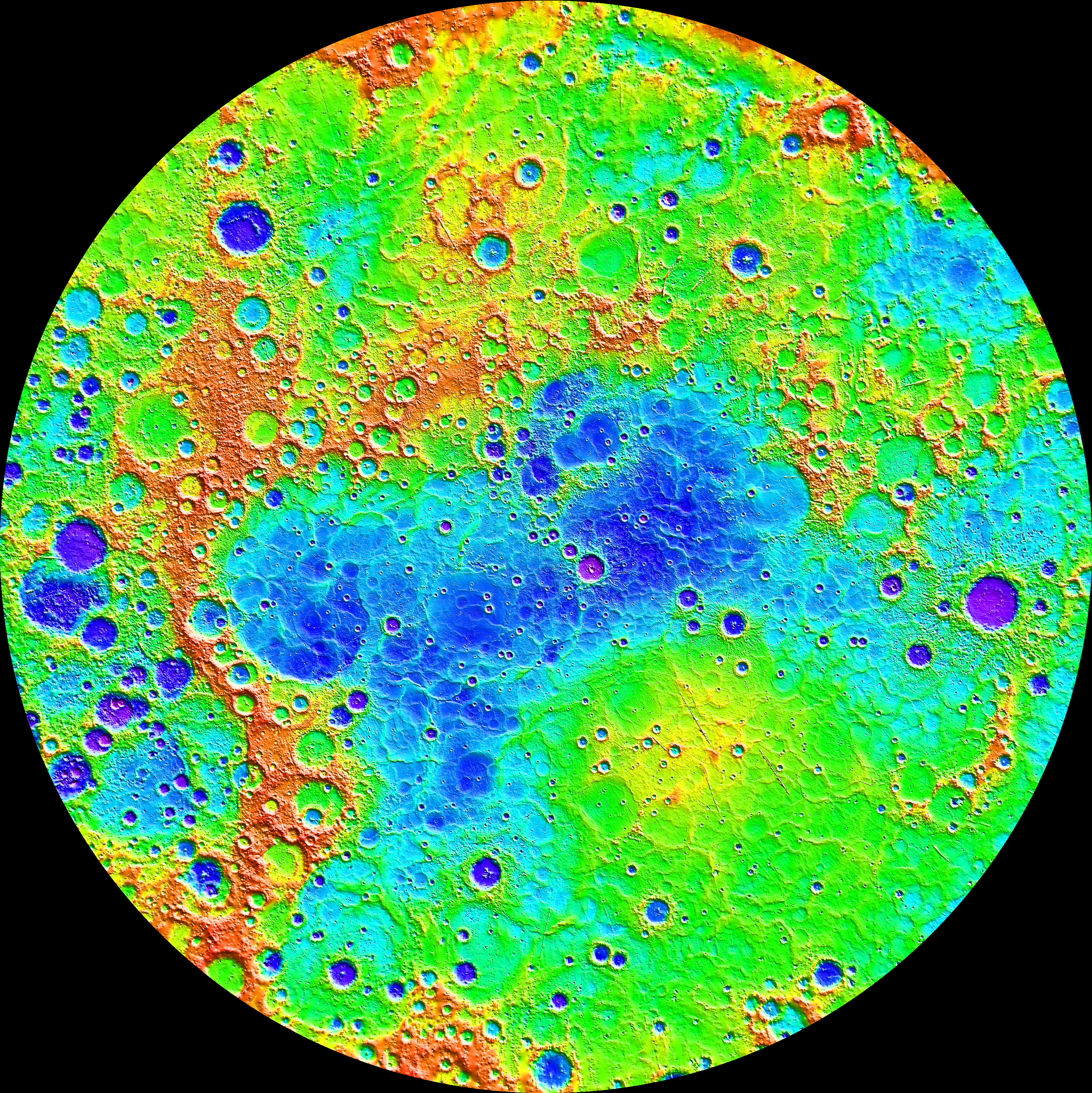Mercure, par Mercury Messenger (altimétrie laser)