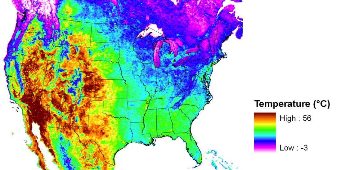 US Desert Songbirds At Risk In A Warming Climate NASA - Annual low temperatures us map