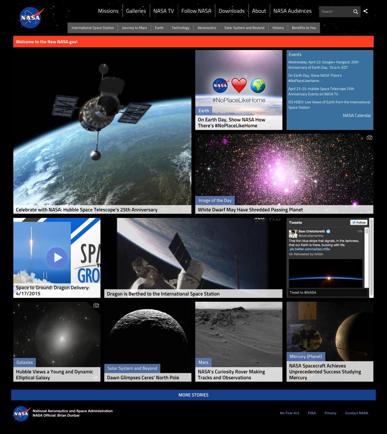 Best Home Design Websites 2015: NASA Home Page Design, 2015 -
