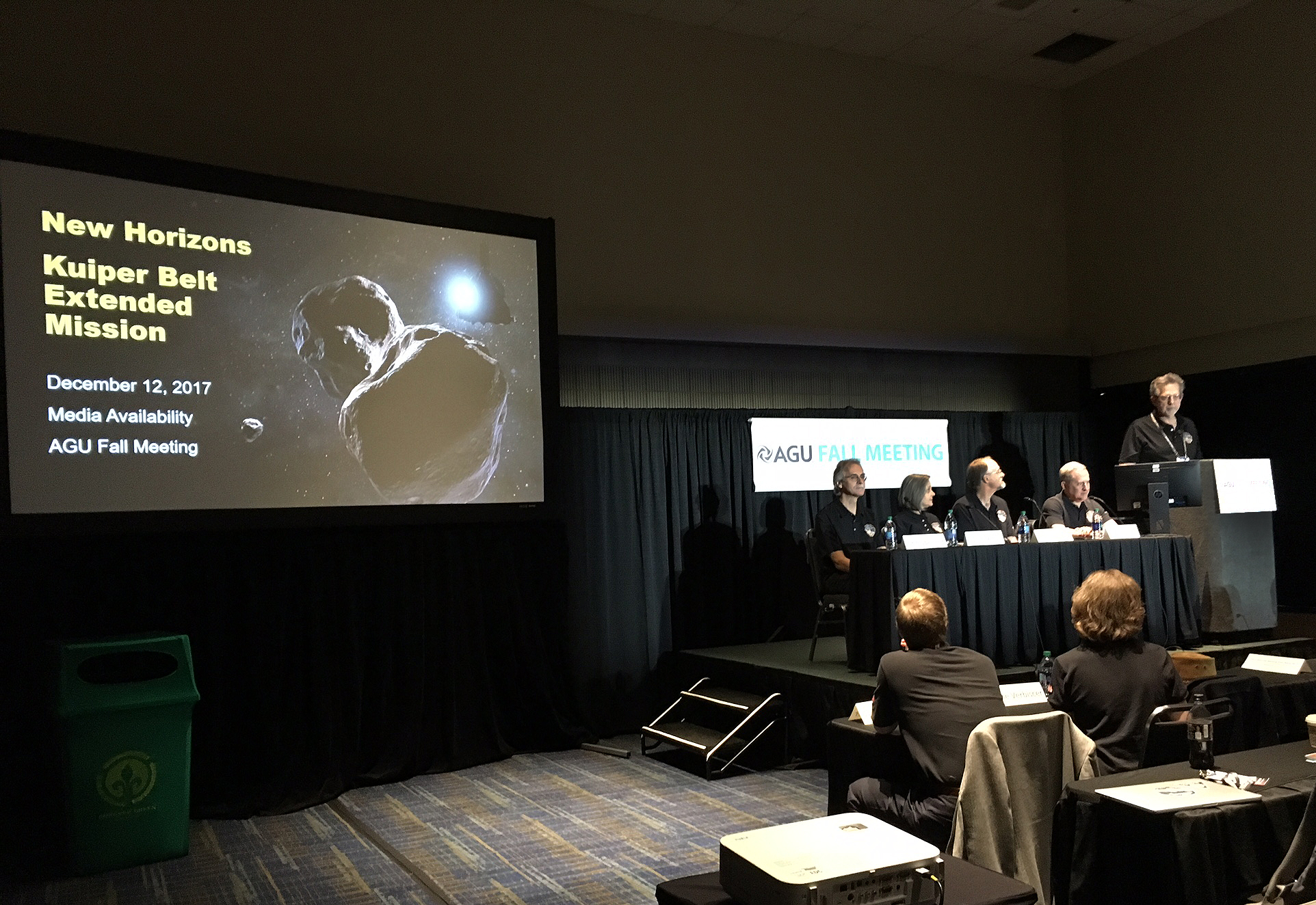 New Horizons team members discuss the Kuiper Belt Extended Mission during a media briefing at the American Geophysical Union Fall Meeting on Dec. 12 in New Orleans. Image Credit: NASA / JHUAPL / SwRI