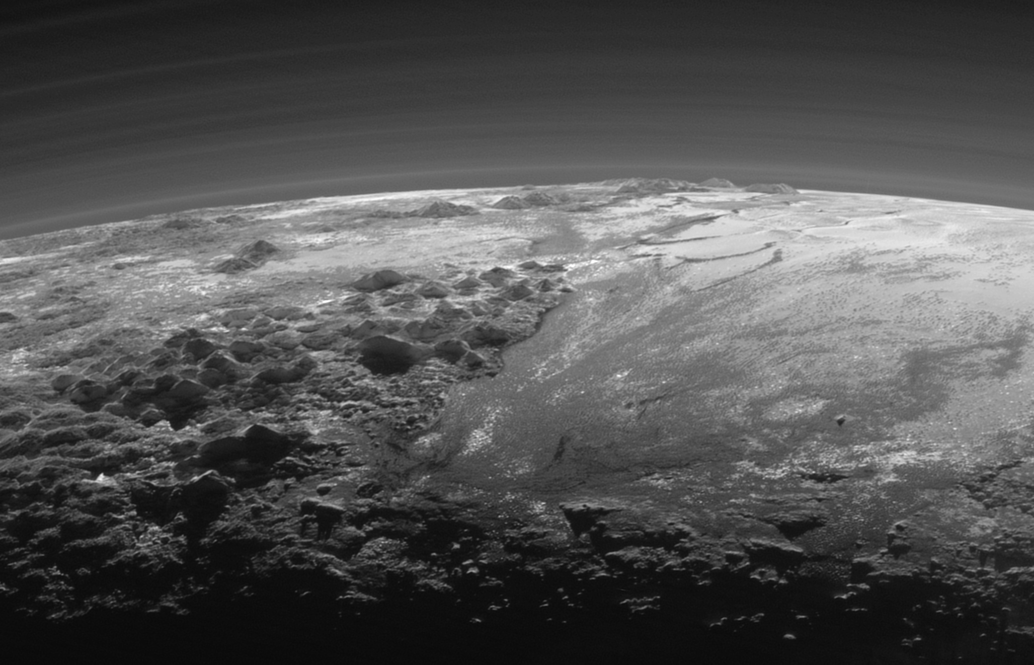 Sunset over the mountains of Pluto.