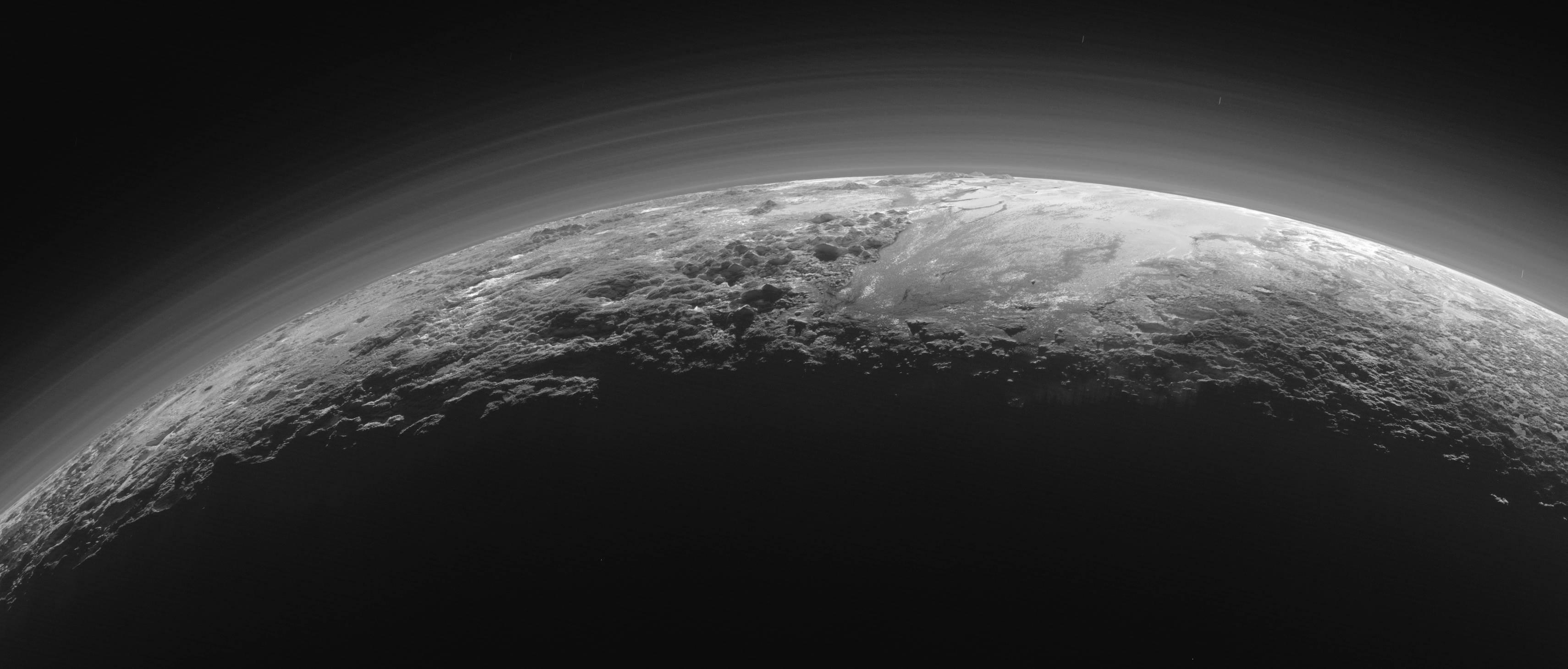 Sunset over the mountains of Pluto