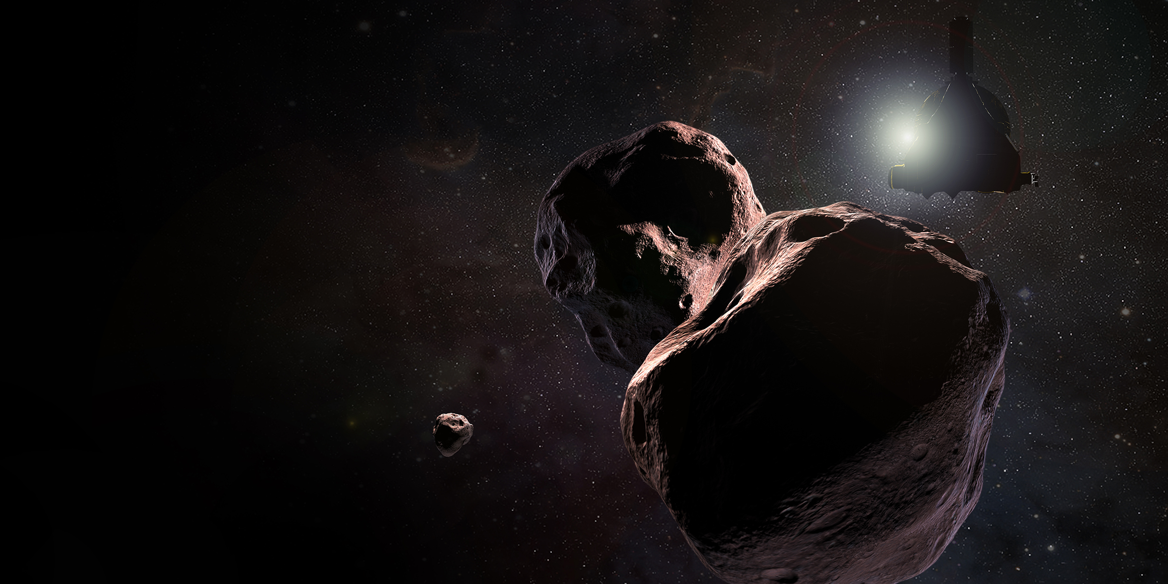 Artist's impression of NASA's New Horizons spacecraft encountering 2014 MU69, a Kuiper Belt object that orbits one billion miles or 1.6 billion kilometers beyond Pluto, on Jan. 1, 2019. Image Credit: NASA / JHUAPL / SwRI / Steve Gribben