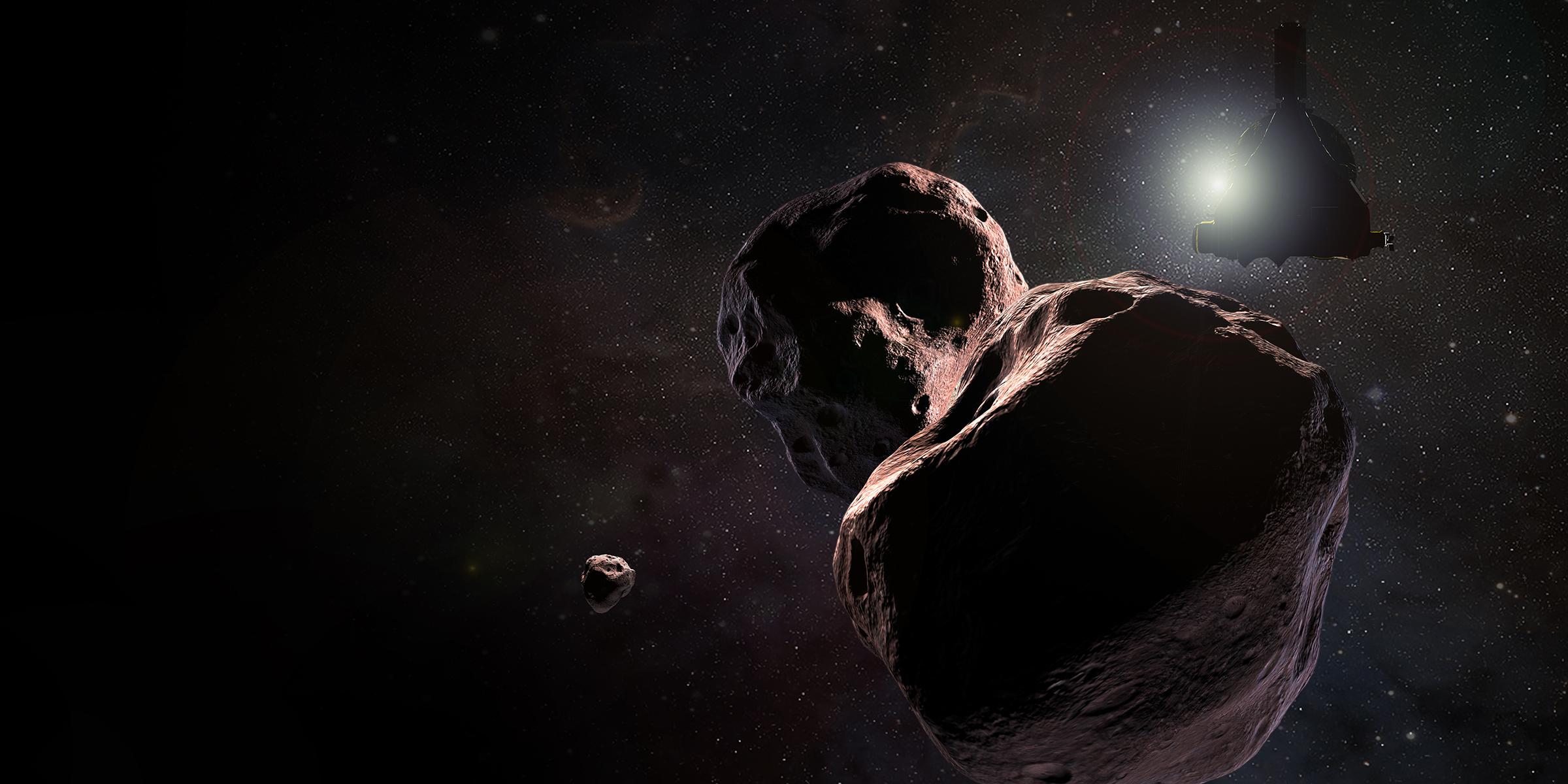 Artist's impression of NASA's New Horizons spacecraft encountering 2014 MU69, a Kuiper Belt object that orbits one billion miles or 1.6 billion kilometers beyond Pluto, on Jan. 1, 2019. Image Credit: NASA / JHUAPL / SwRI / Steve Gribben