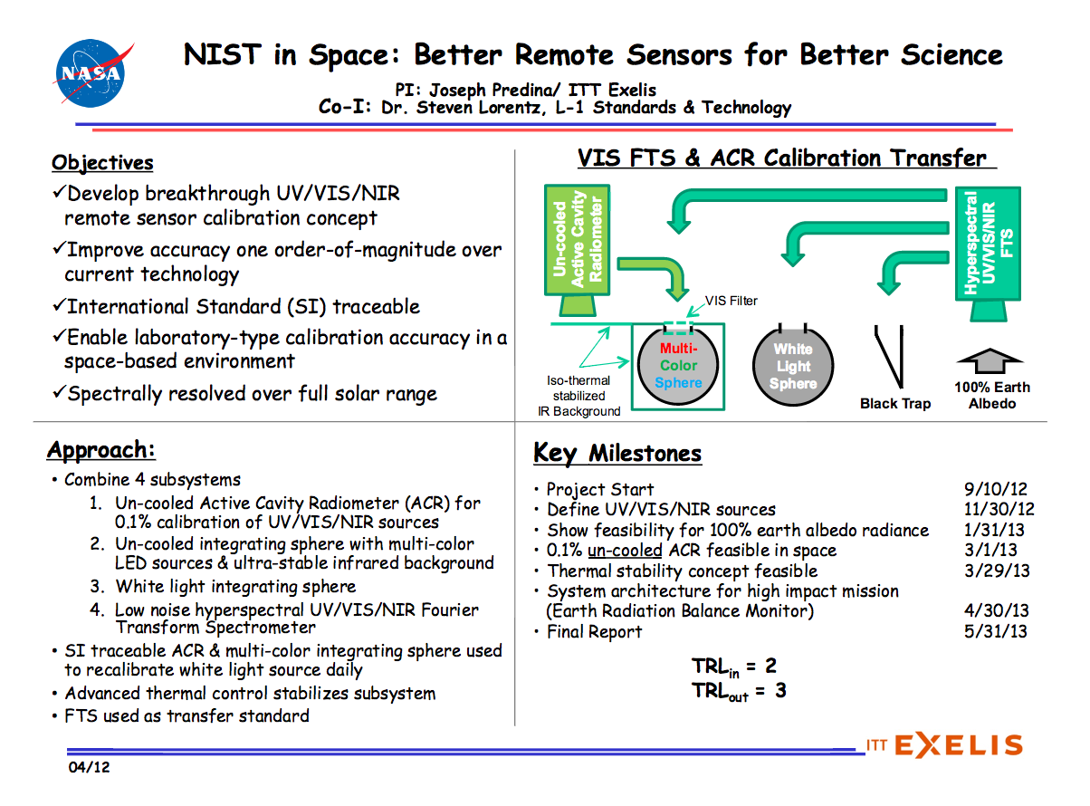 NIST In Space Better Remote Sensors For Science