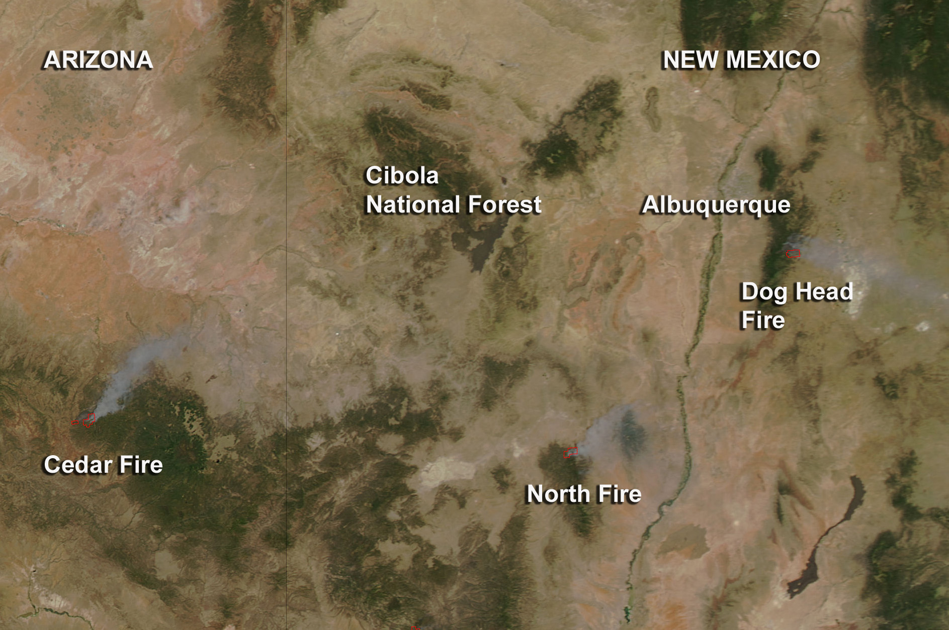 Satellite Map Of Arizona.Fires In New Mexico And Arizona Nasa