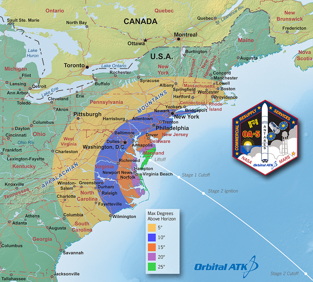 Map Of The Us And Canada%0A Map of US east coast showing viewing possibilities for launch from Wallops  Flight Facility