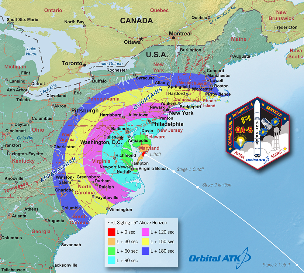 Map Of Us East Coast Showing Viewing Possibilities For Launch From Wallops Flight Facility