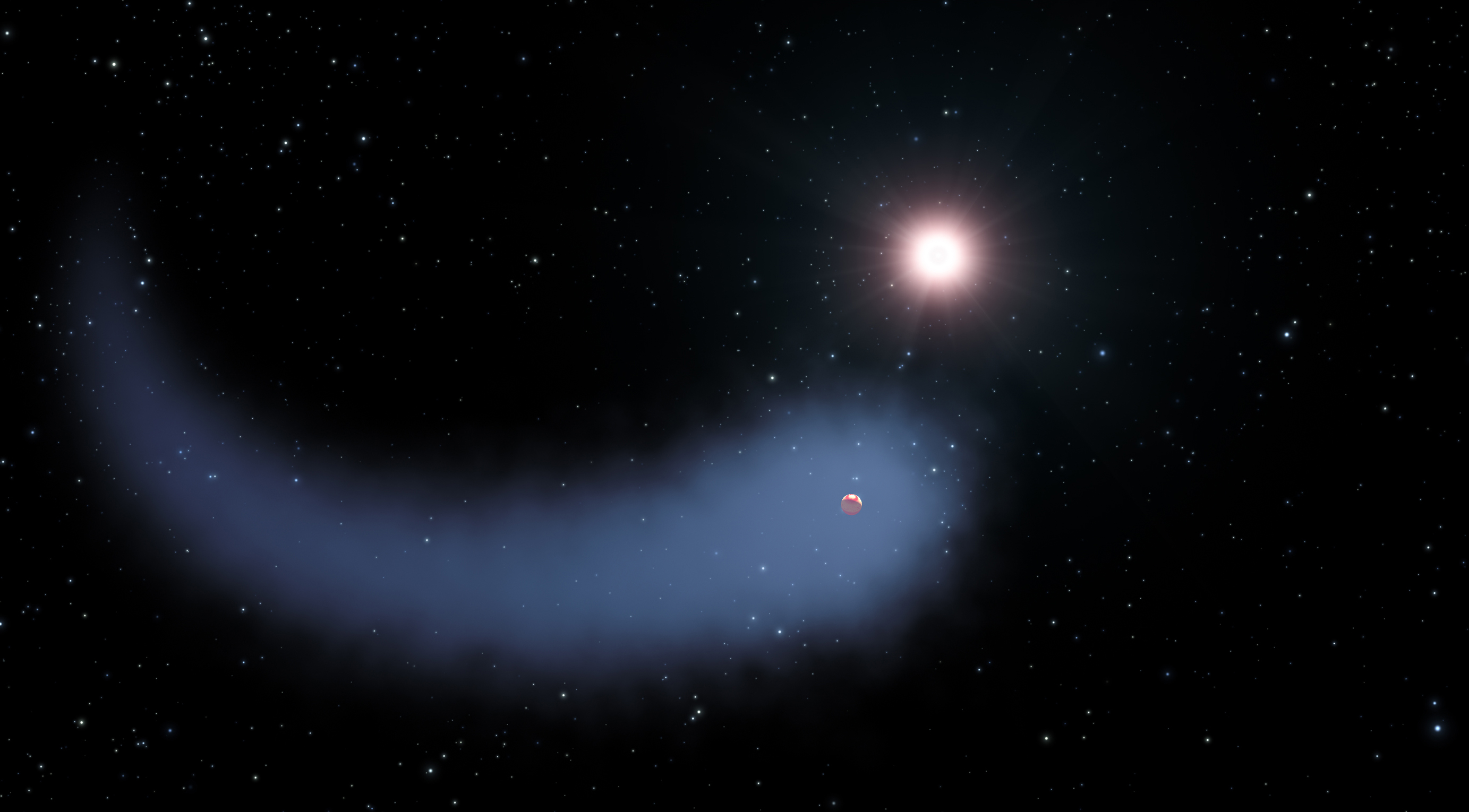 Hubble Sees 'Behemoth' Atmospheric Tail Bleeding from Warm Exoplanet