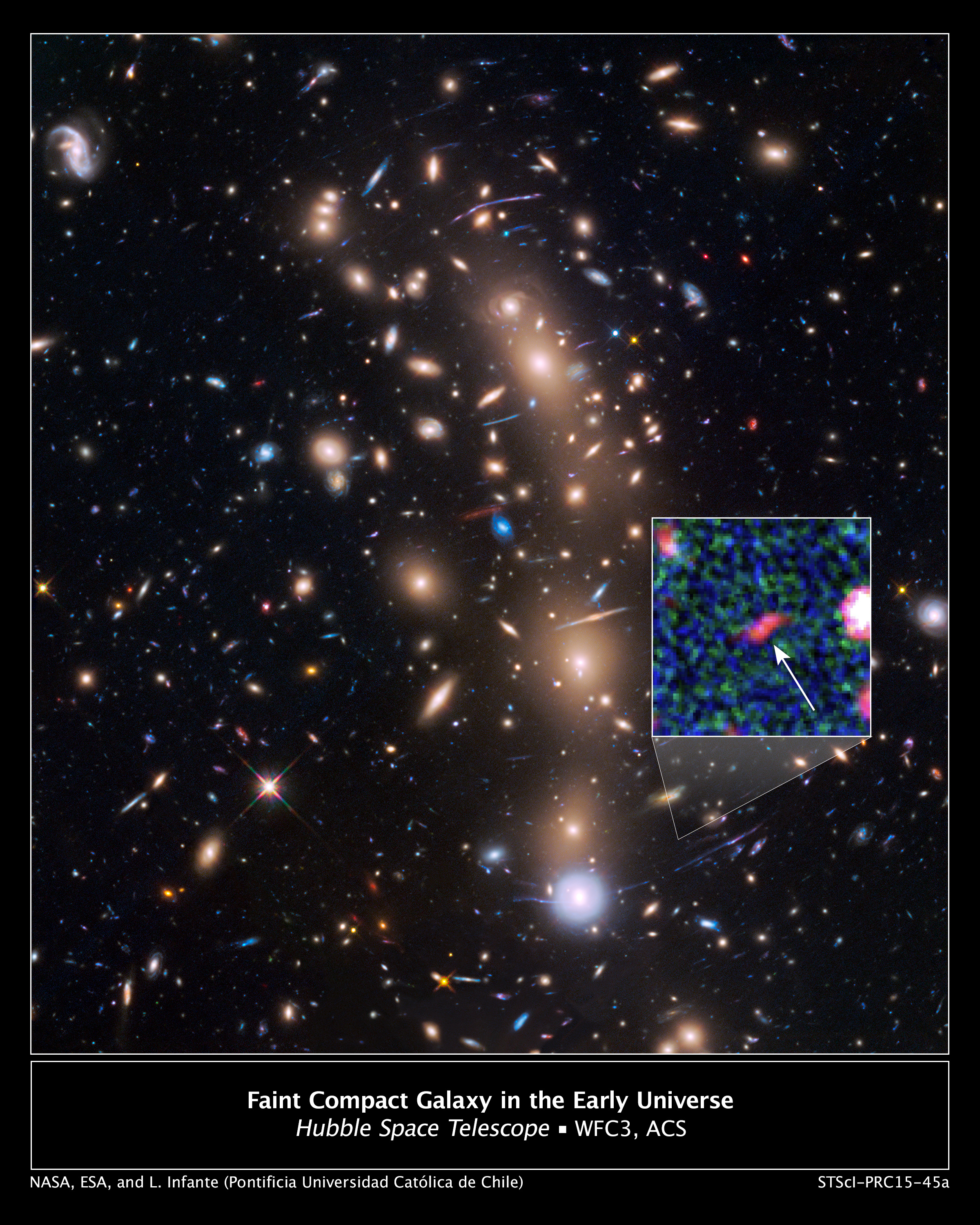 Hubble Space Telescope view of a very massive cluster of galaxies, MACS J0416.1