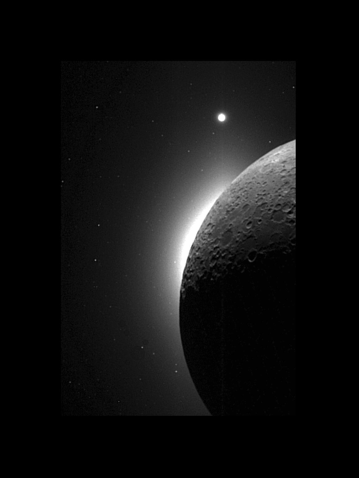 Clementine observes the moon solar corona and venus nasa black and white image of the moon close up with venus in distance voltagebd Choice Image