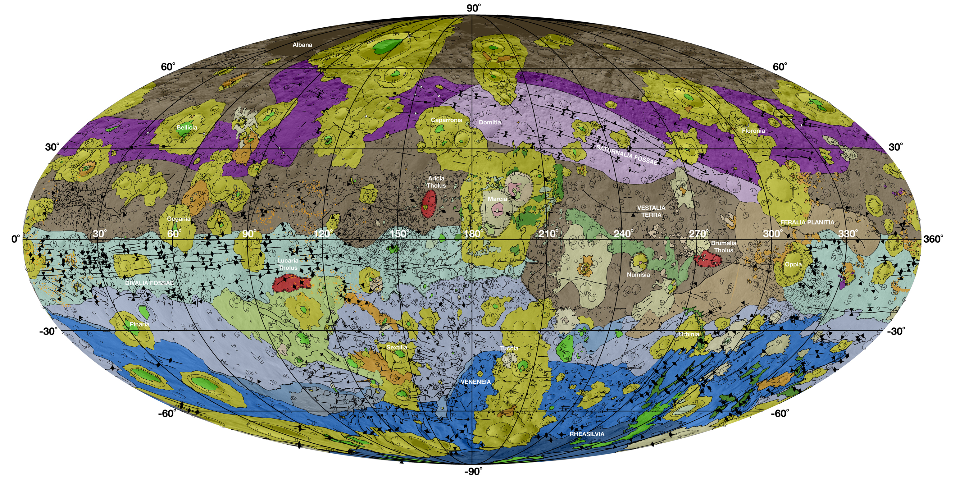 Vesta's geological map