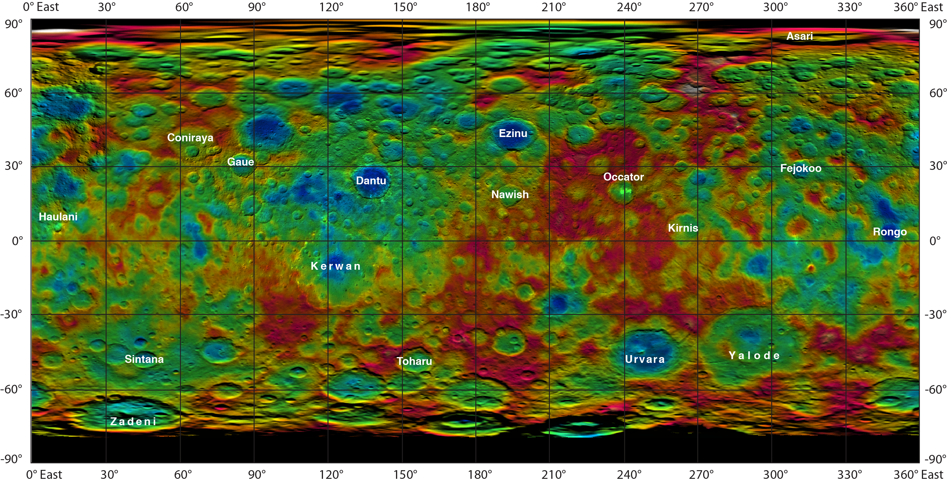 Topographic Ceres Map With Crater Names NASA - Nasa topographic map
