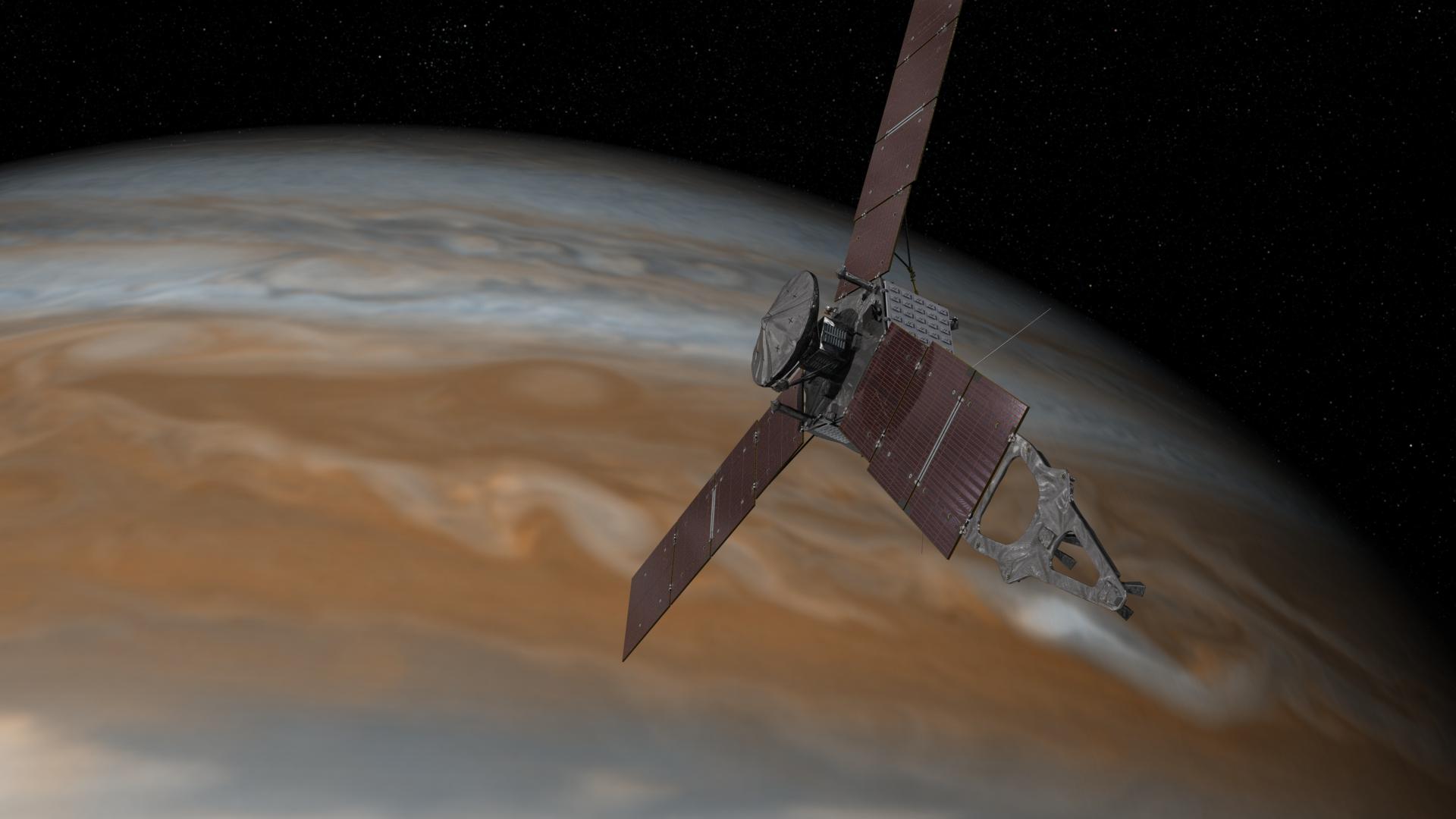 one year to jupiter s juno team prepares  artist s concept of juno spacecraft