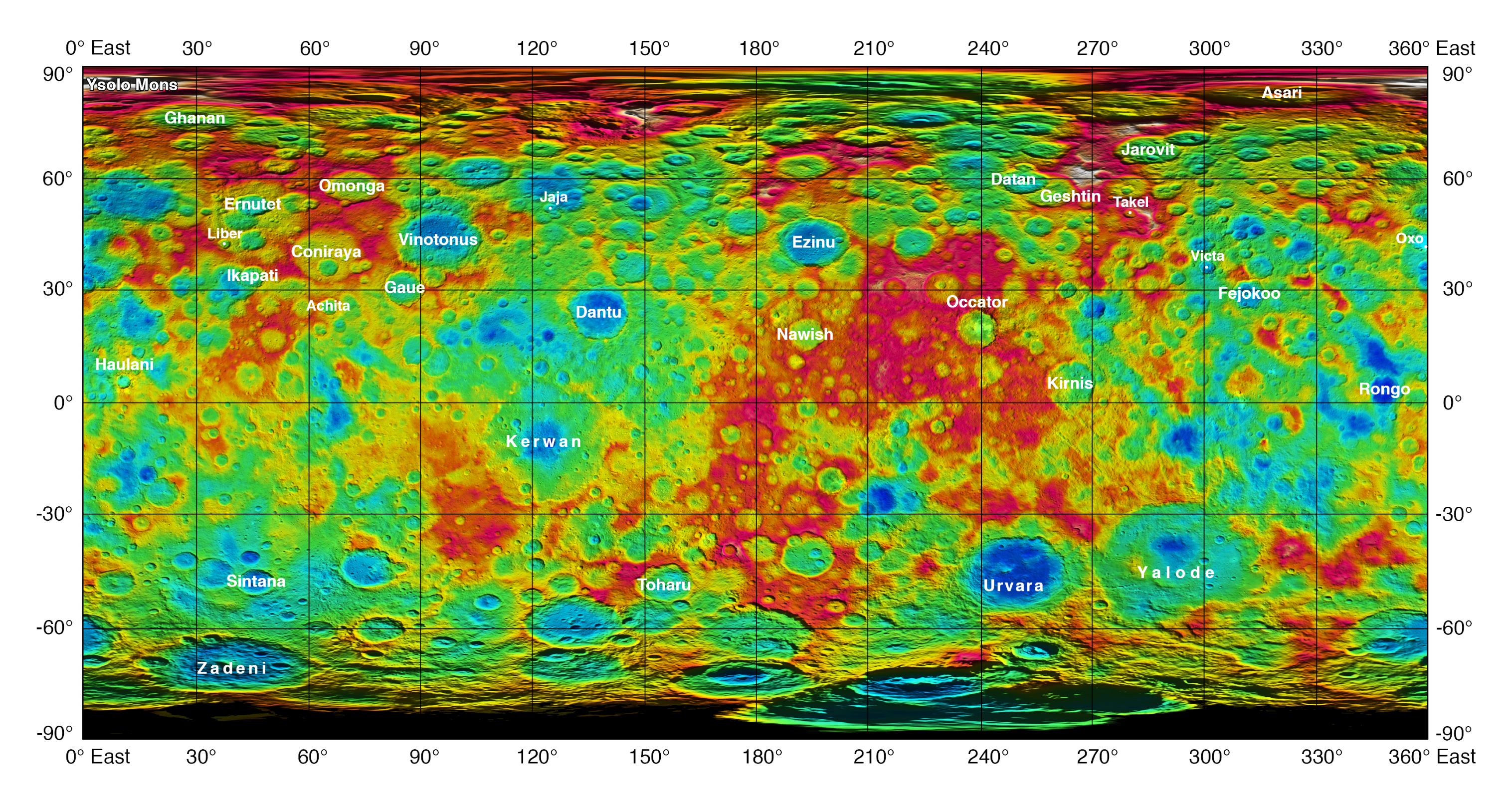 Topographic Ceres Map With Feature Names II NASA - Nasa topographic map