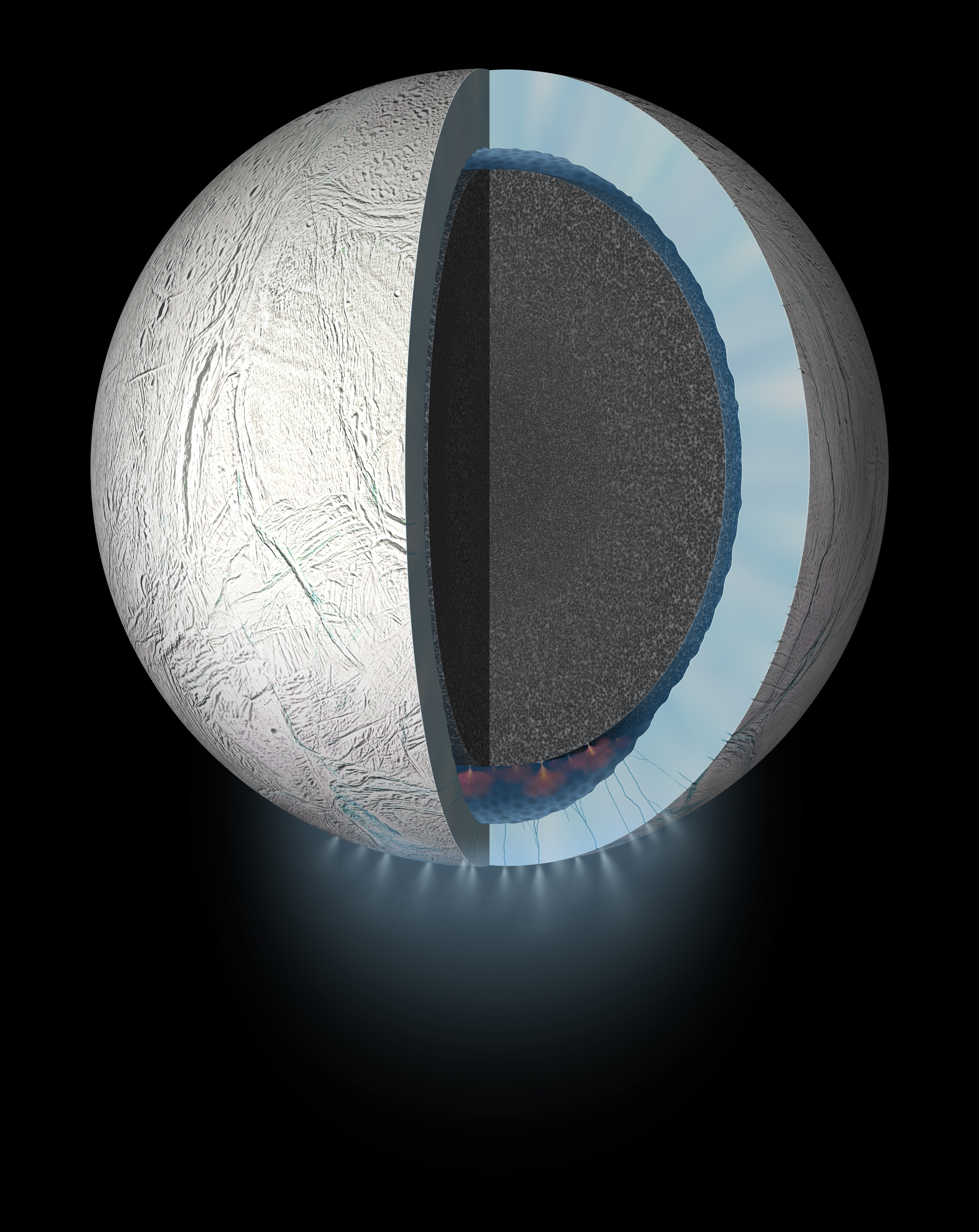 Rendering artistico di Encelado con focus sulla struttura interna. Credits: NASA