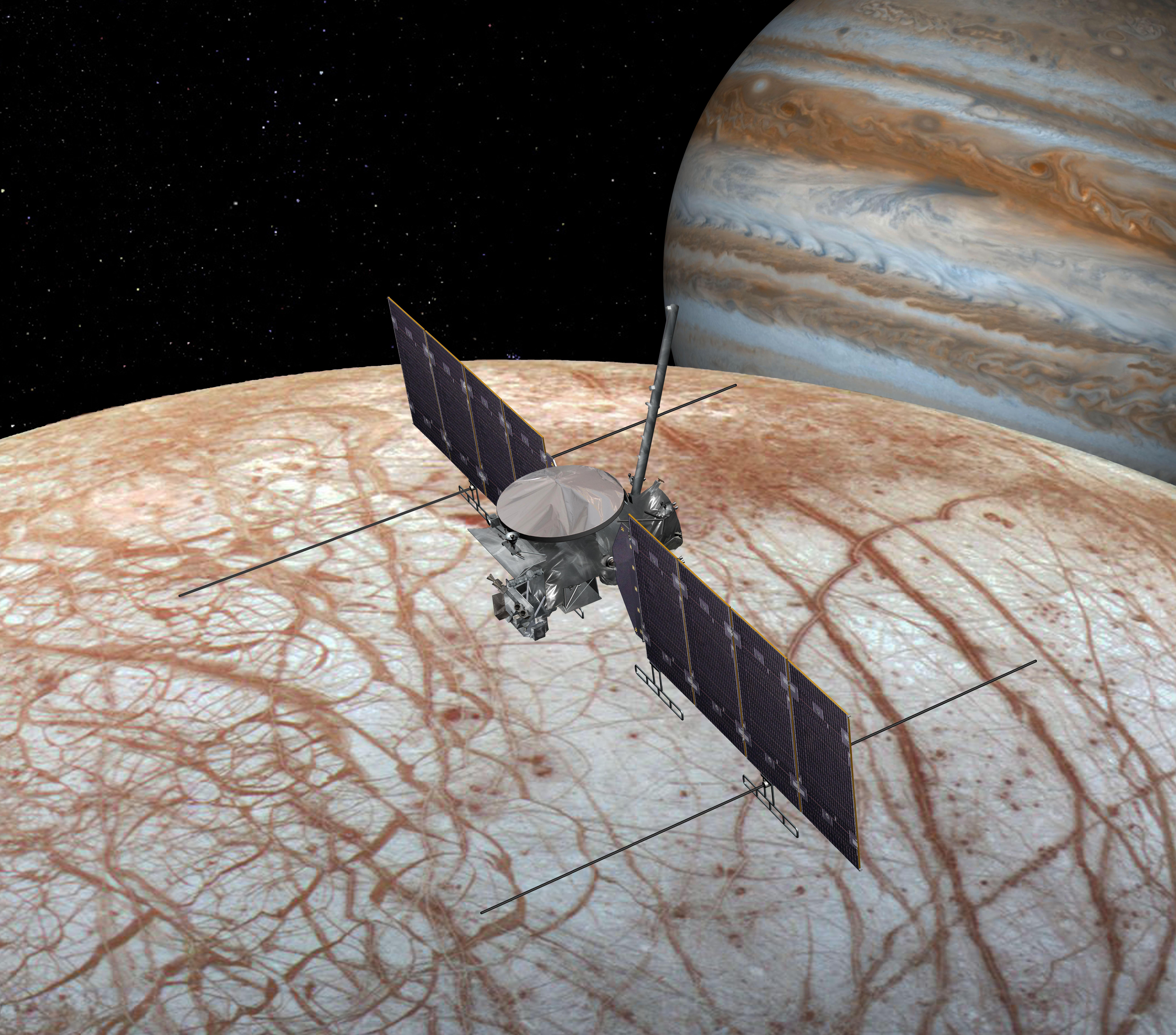 NASA testuje anténu pro sondu k měsíci Europa. Stále ale není zřejmé, na jaké raketě Europa Clipper poletí