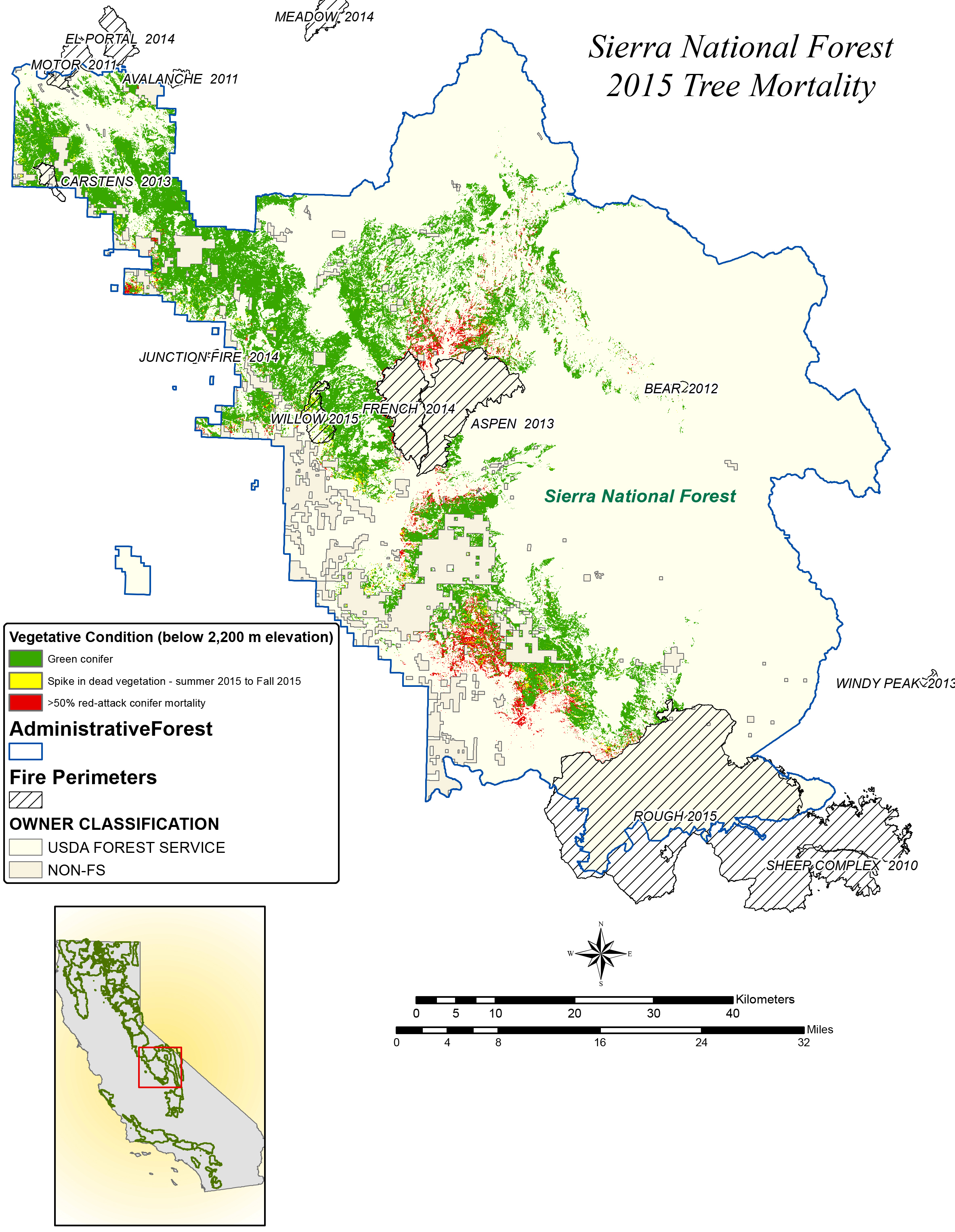 NASA Maps California Drought Effects On Sierra Trees NASA - Map of us forest regions