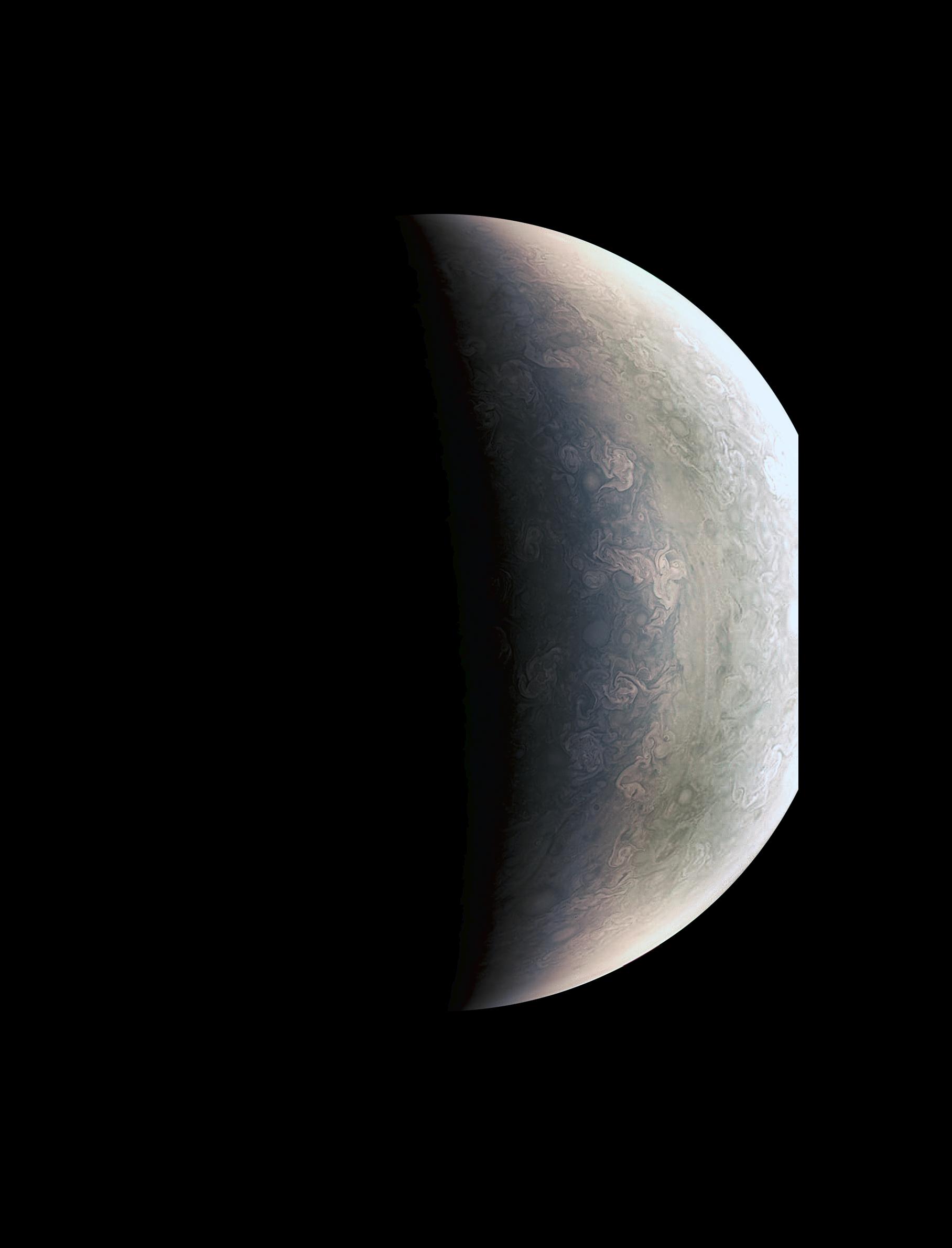 Eine Nahaufnahme des Planeten Jupiters , durch die Raumsonde Juno. Man siehtdie Muster, die Gase in der Athmosspähre eines Gasriesen hinterlassen.
