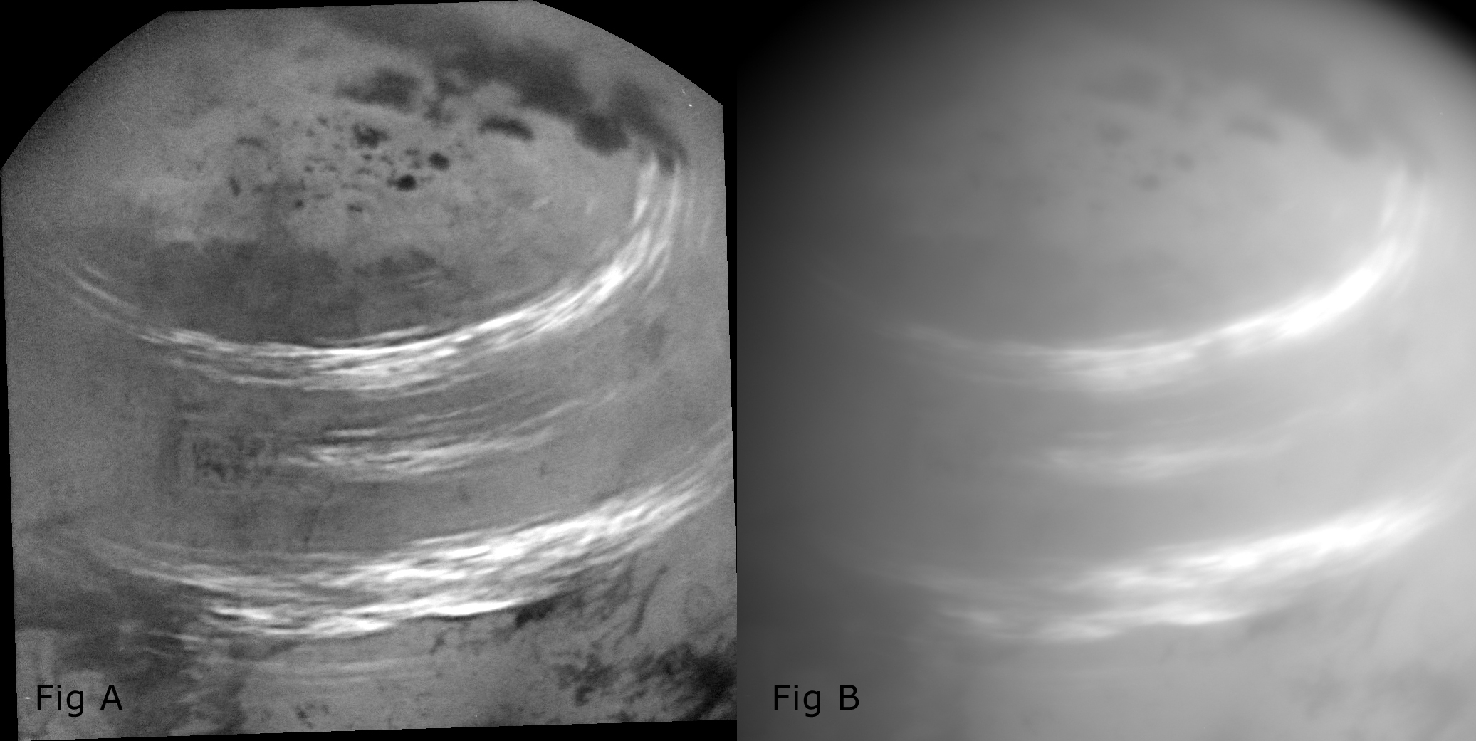 Two enhanced images of Titan
