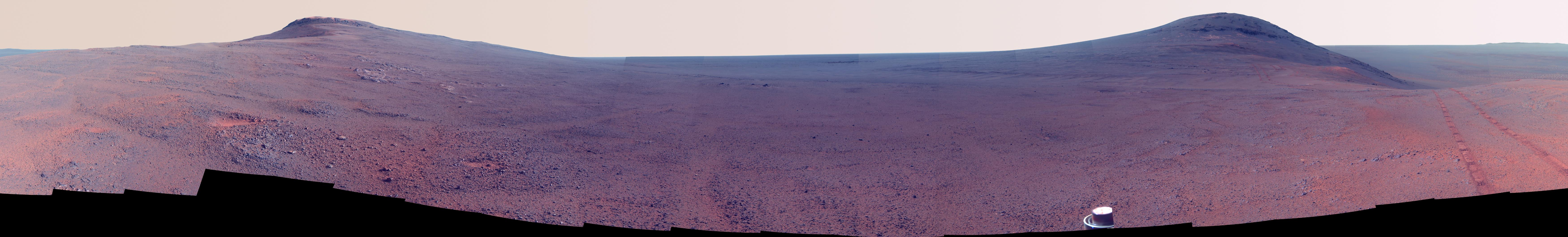 Enhanced Color Panorama Above 'Perseverance Valley' on Mars