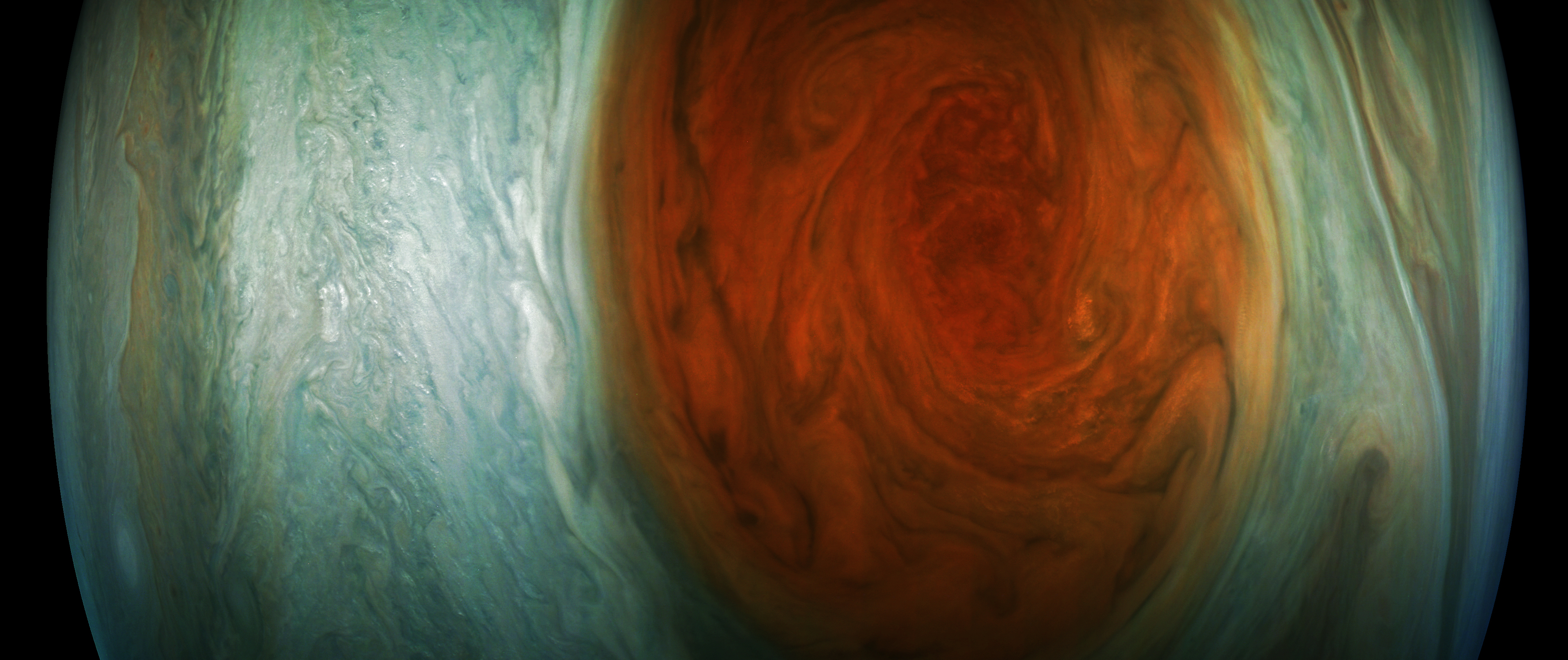 jupiters great red spot enhanced color