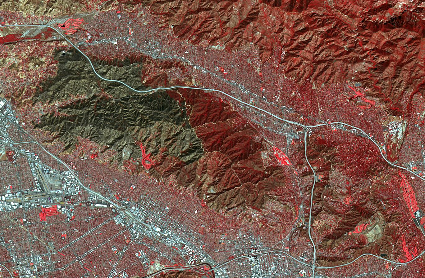 Scar from Los Angeles' Wildfires Imaged by NASA Satellite | NASA Satellite Map Of Los Angeles on satellite map of oklahoma, satellite map of north carolina, satellite map of queen creek, satellite map of oahu hawaii, satellite map of vermont, satellite map of colorado river, satellite map of new york state, satellite map of united states, satellite map of key west, satellite map of new mexico, satellite map of la paz mexico, satellite map of flagstaff, satellite map of chesapeake bay, satellite map of cabo san lucas, satellite map of las vegas strip, satellite map of abu dhabi, satellite map of east coast, satellite map of the us, satellite map of disney world, satellite map of staten island,