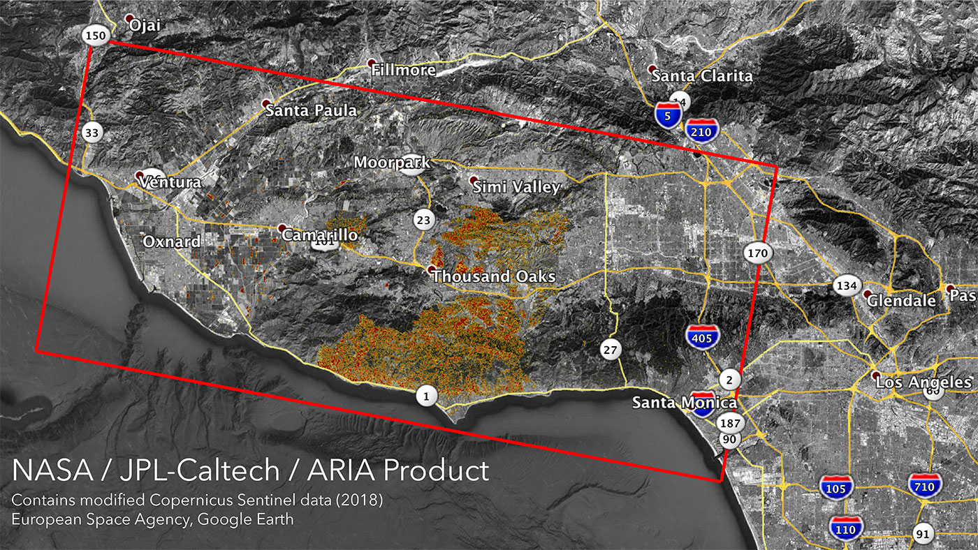 GEOFORUM Kalifornijskie pożary widziane z kosmosu