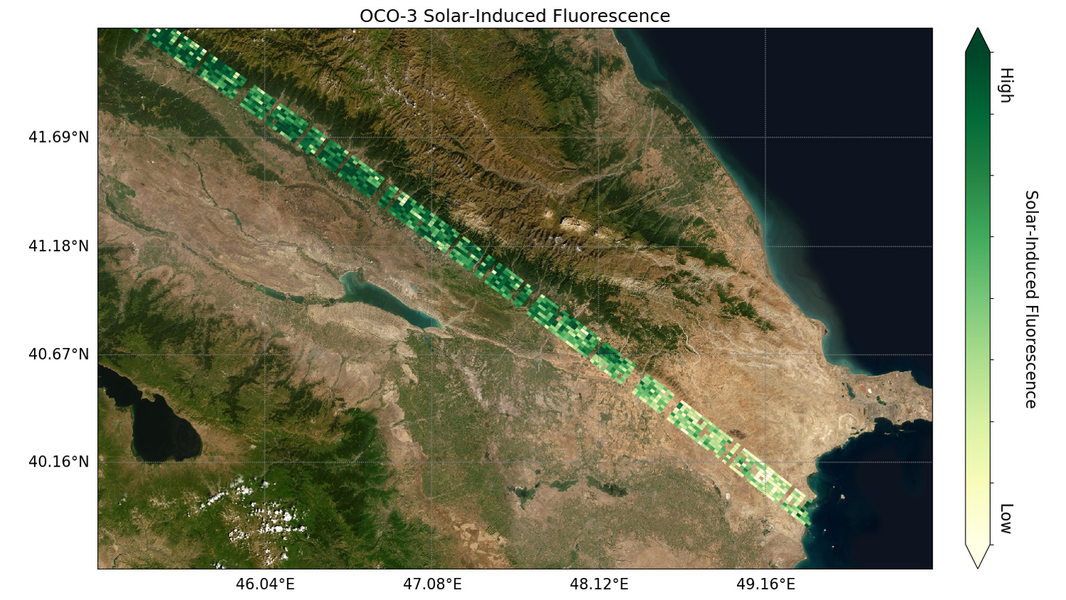 Preliminary solar-induced fluorescence (SIF) measurements from OCO-3 over western Asia.