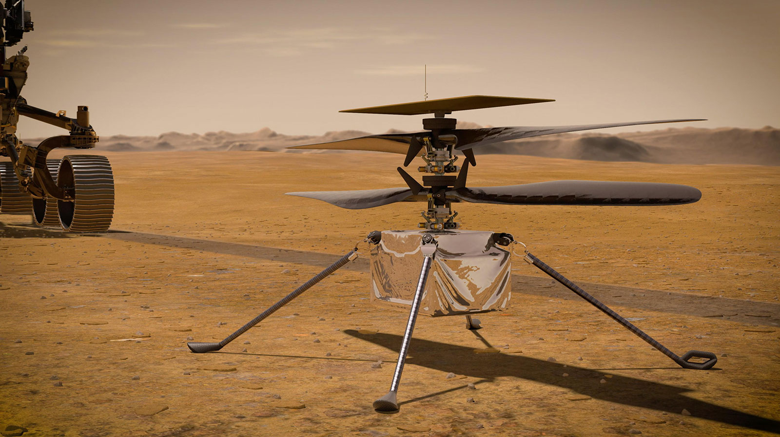 The Ingenuity Mars helicopter has a small box-like body topped by two sets of oblong blades. Four stick-like legs extend from the body of the helicopter.