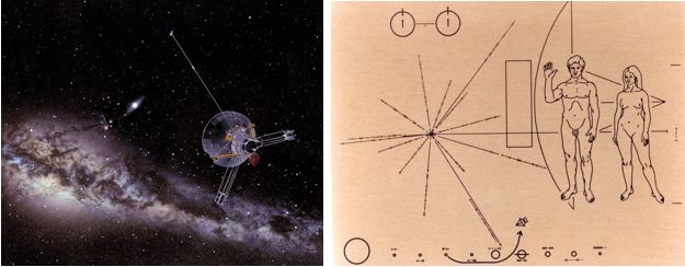 Left: Illustration of the spacecraft in space: Pioneer 10 Leaving the Planets Behind, by Don Davis. Right: Copy of the plaque carried by Pioneer 10, with information about its creators, in case the spacecraft is found by an intelligent alien civilization.