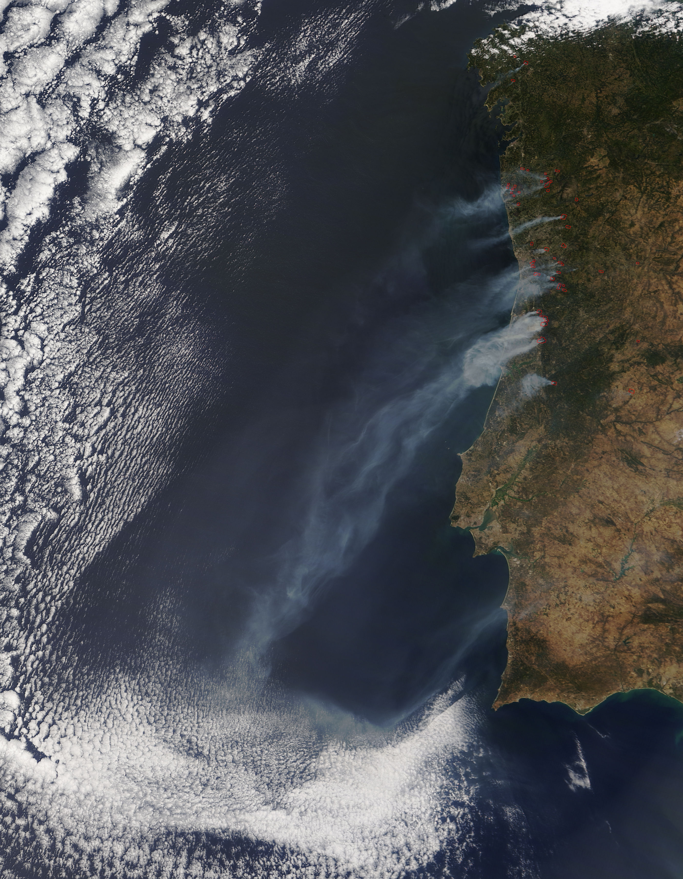 Smoke From Fires On Mainland Portugal NASA - Portugal map satellite