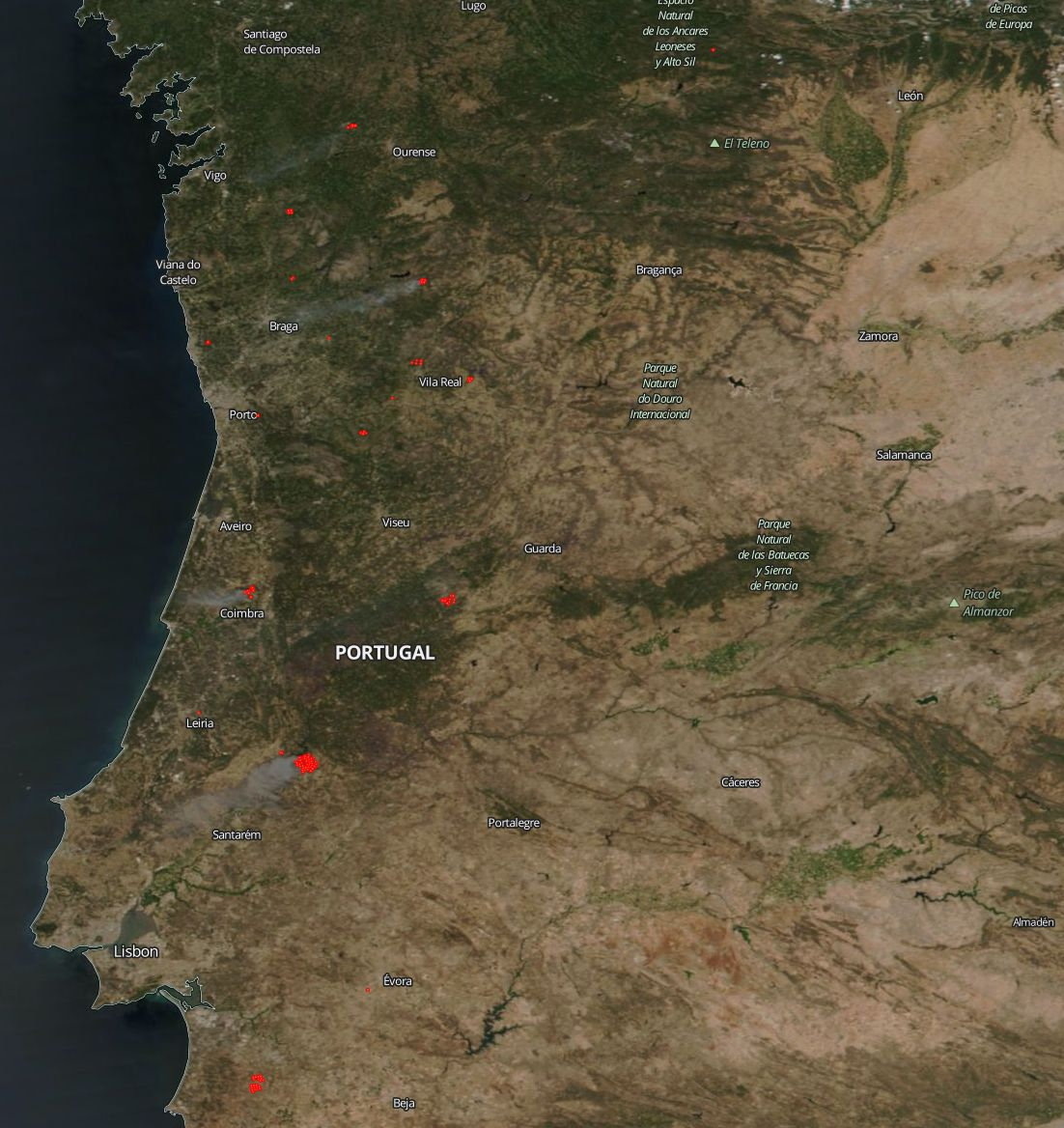 Temperatures Soar In Portugal And New Fires Break Out NASA - Portugal map of fires